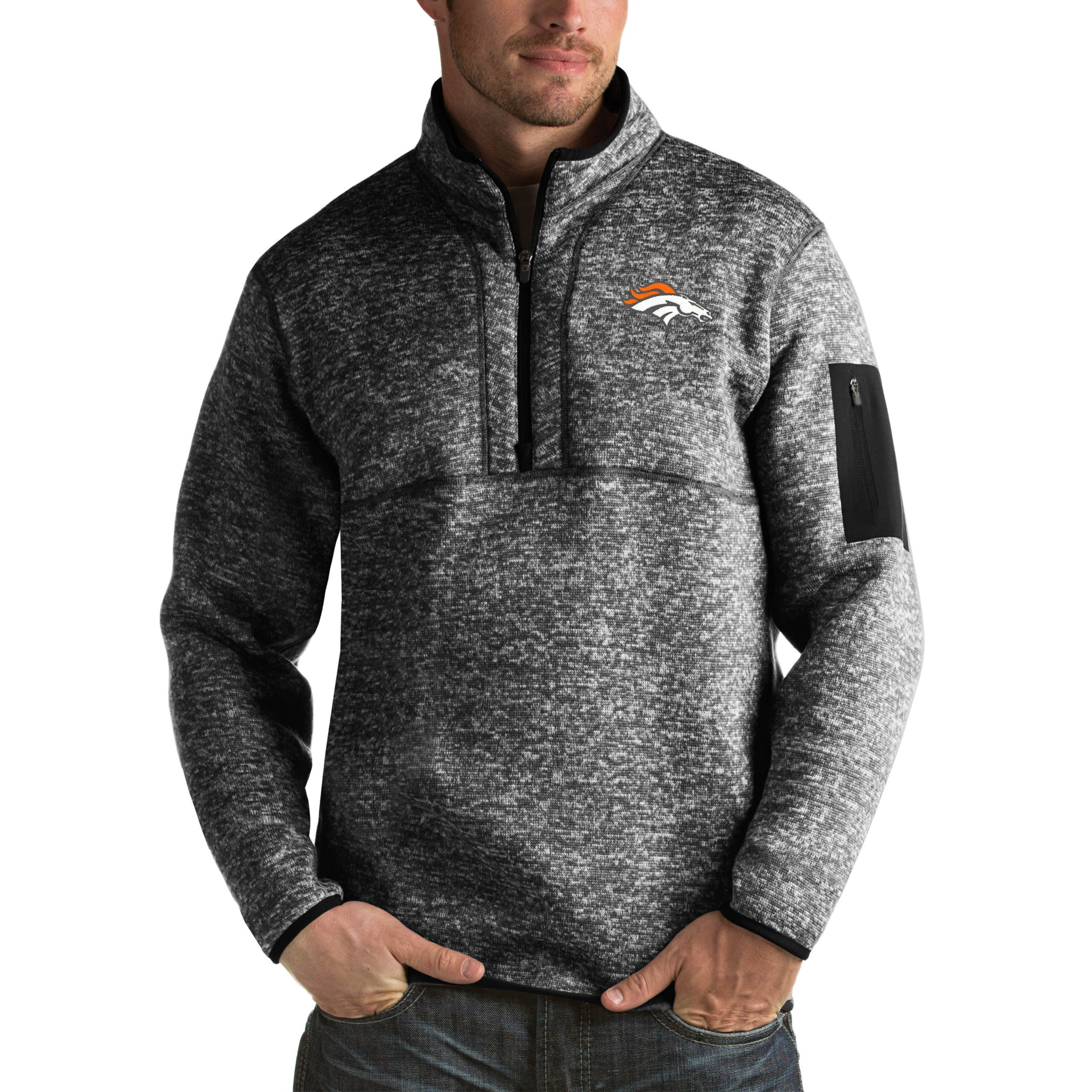Denver Broncos Antigua Fortune Big & Tall Quarter-Zip Pullover Jacket - Heather Black
