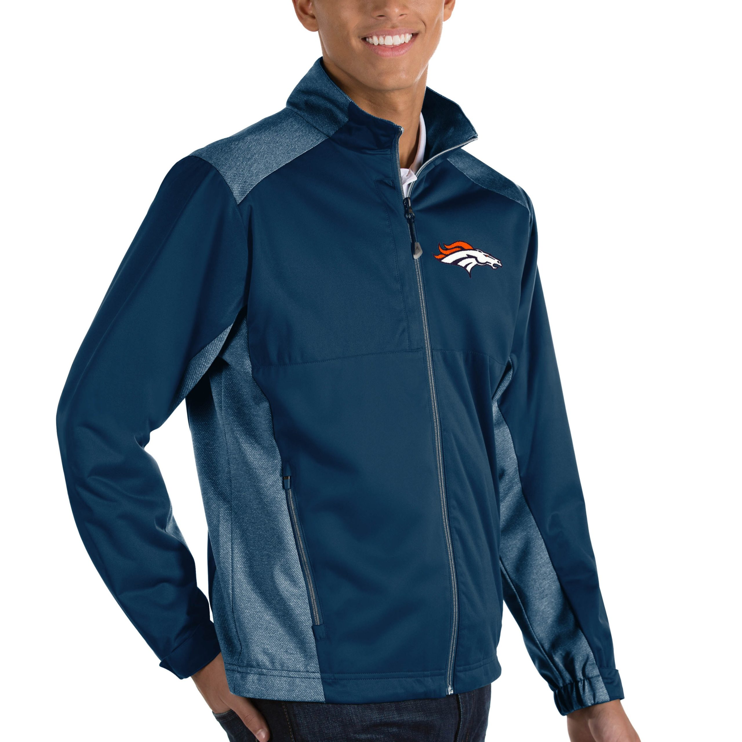 Denver Broncos Antigua Revolve Big & Tall Full-Zip Jacket - Heather Navy