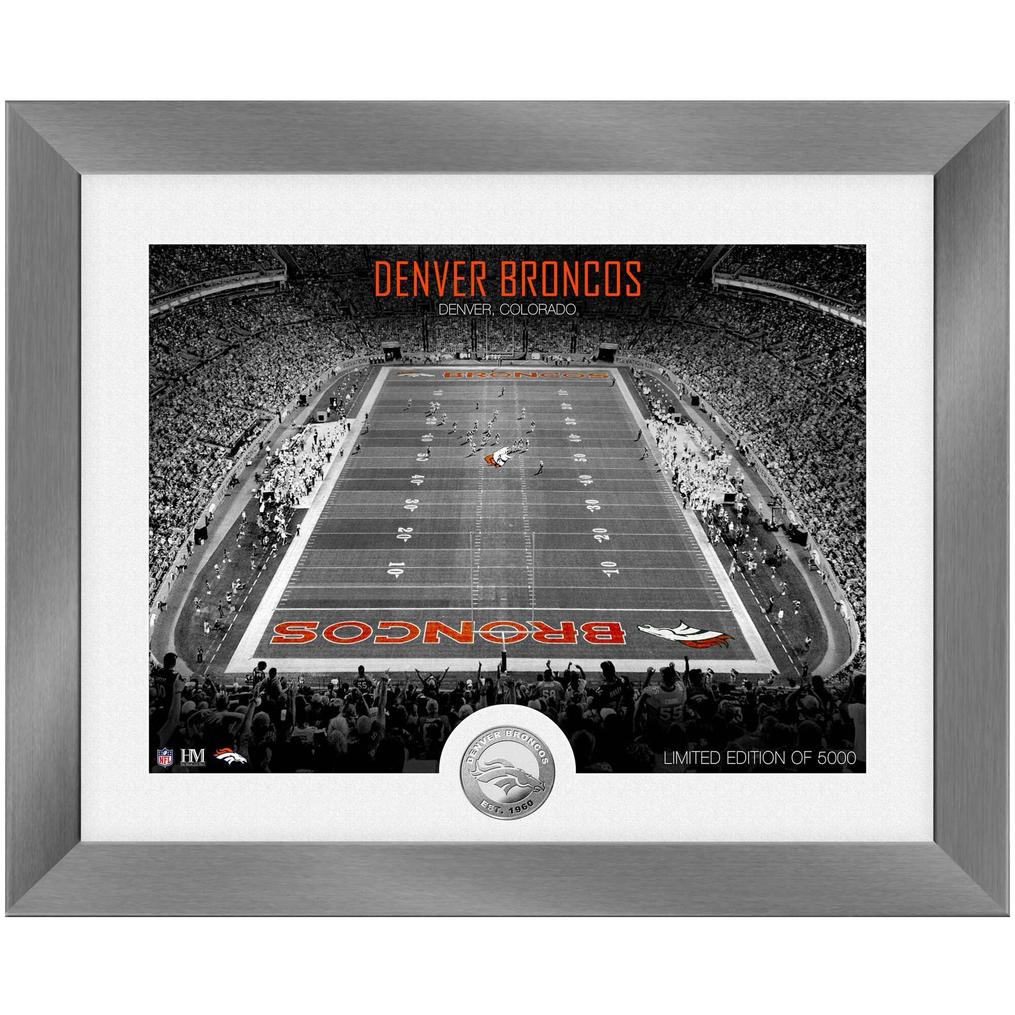 Denver Broncos Highland Mint 13'' x 16'' Art Deco Stadium Silver Coin Photo Mint