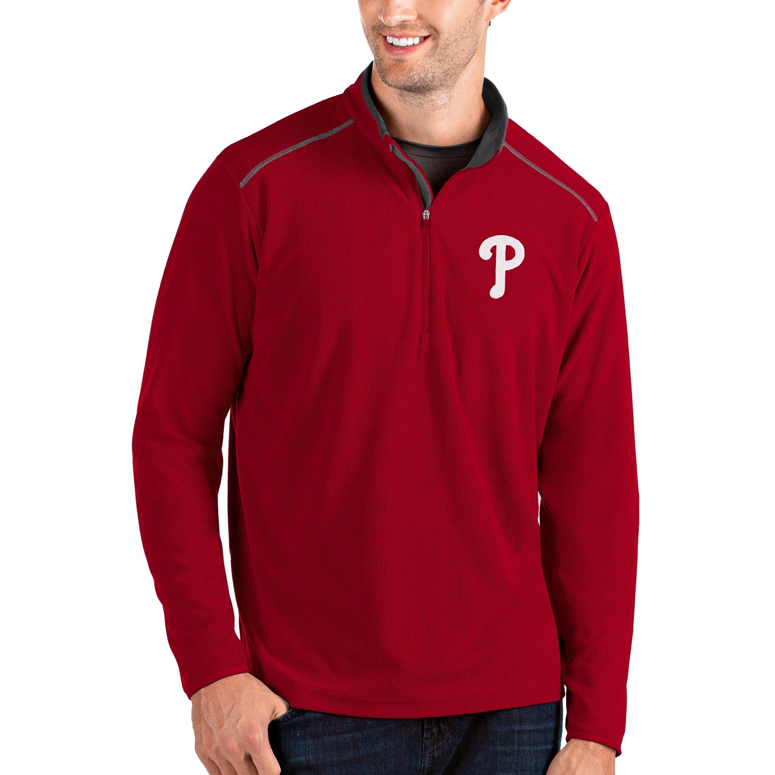 Philadelphia Phillies Antigua Glacier Quarter-Zip Pullover Jacket - Red