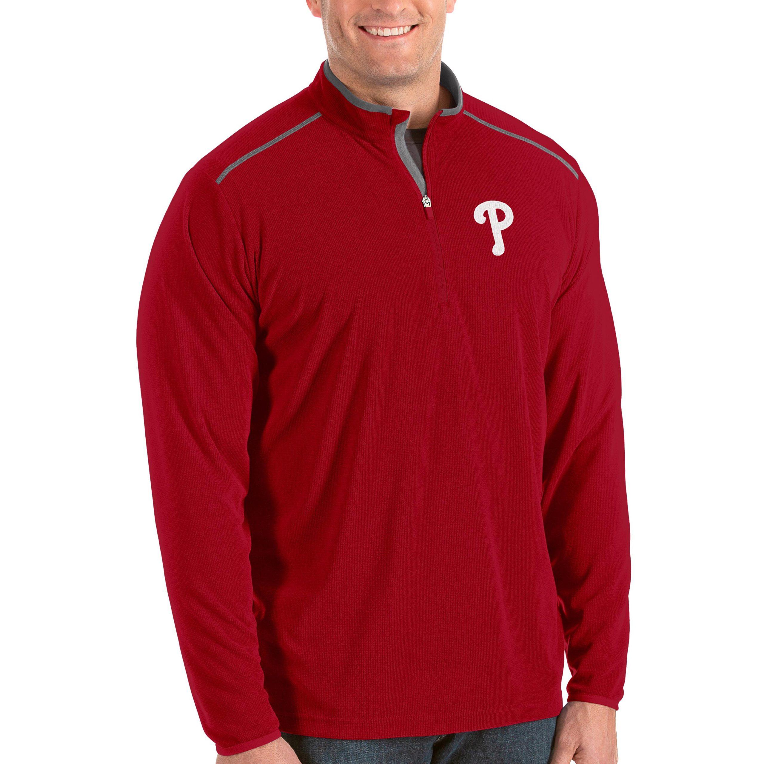 Philadelphia Phillies Antigua Big & Tall Glacier Quarter-Zip Pullover Jacket - Red