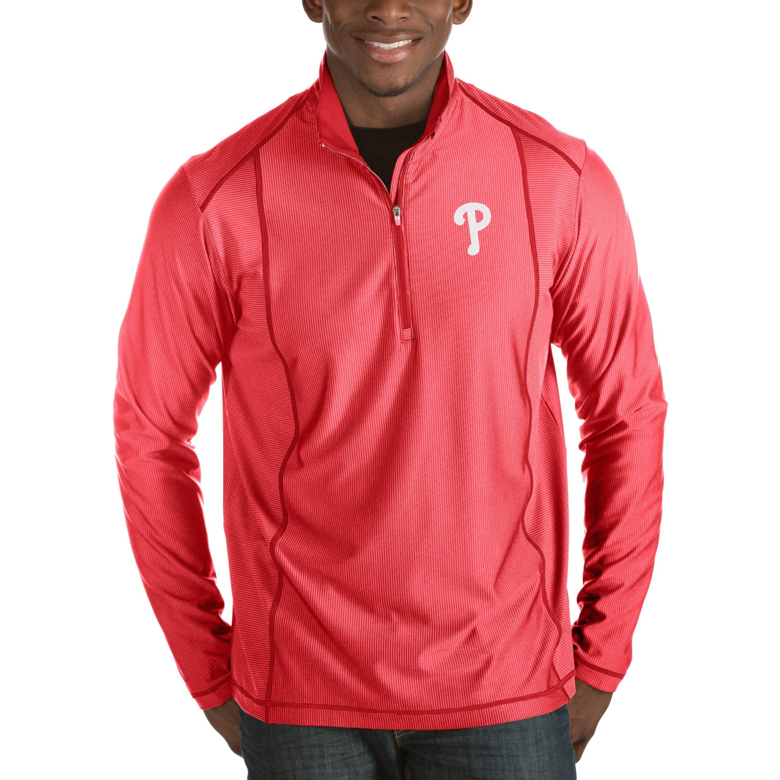 Philadelphia Phillies Antigua Tempo Half-Zip Pullover Jacket - Heathered Red