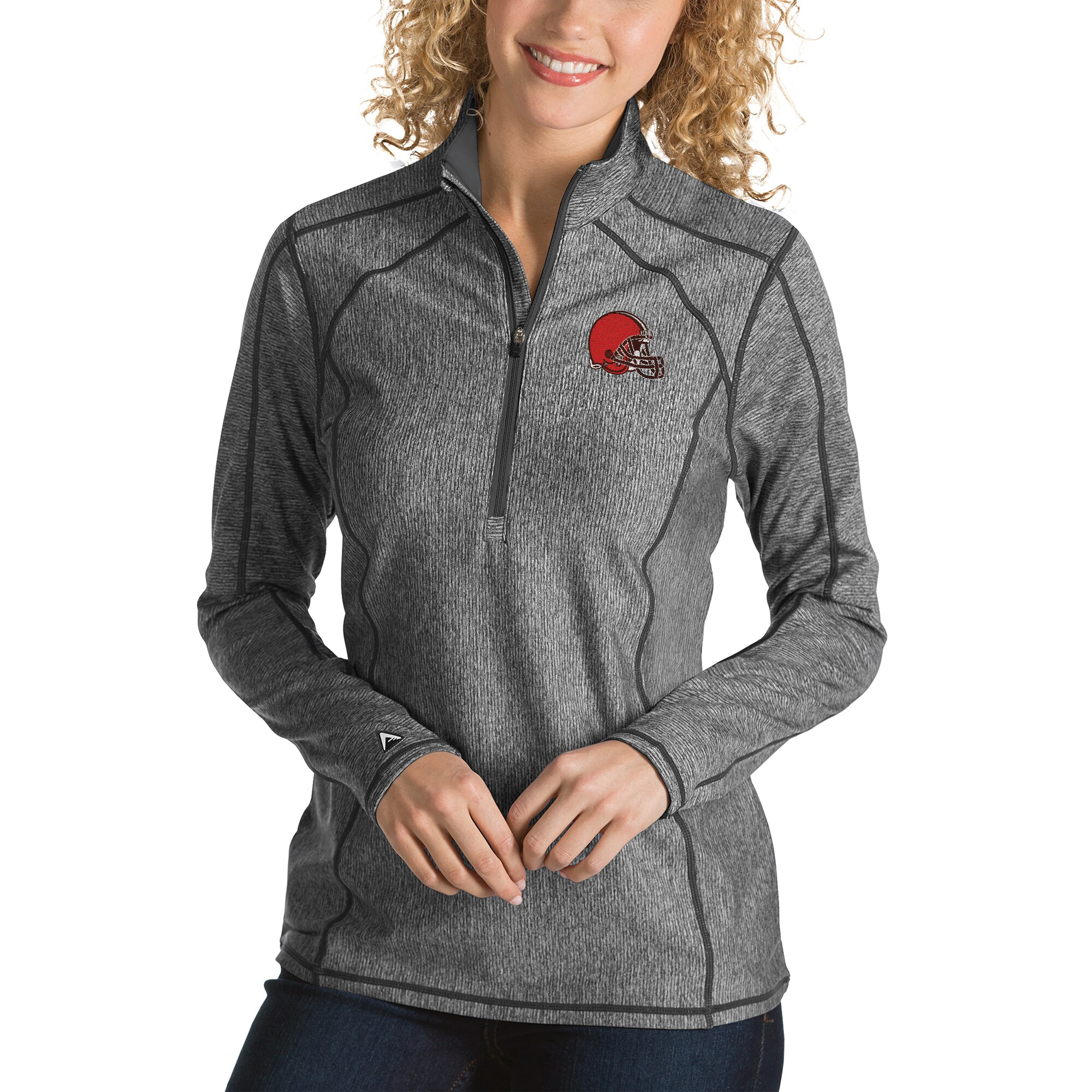 Cleveland Browns Antigua Women's Tempo Desert Dry Quarter-Zip Jacket - Heather Charcoal