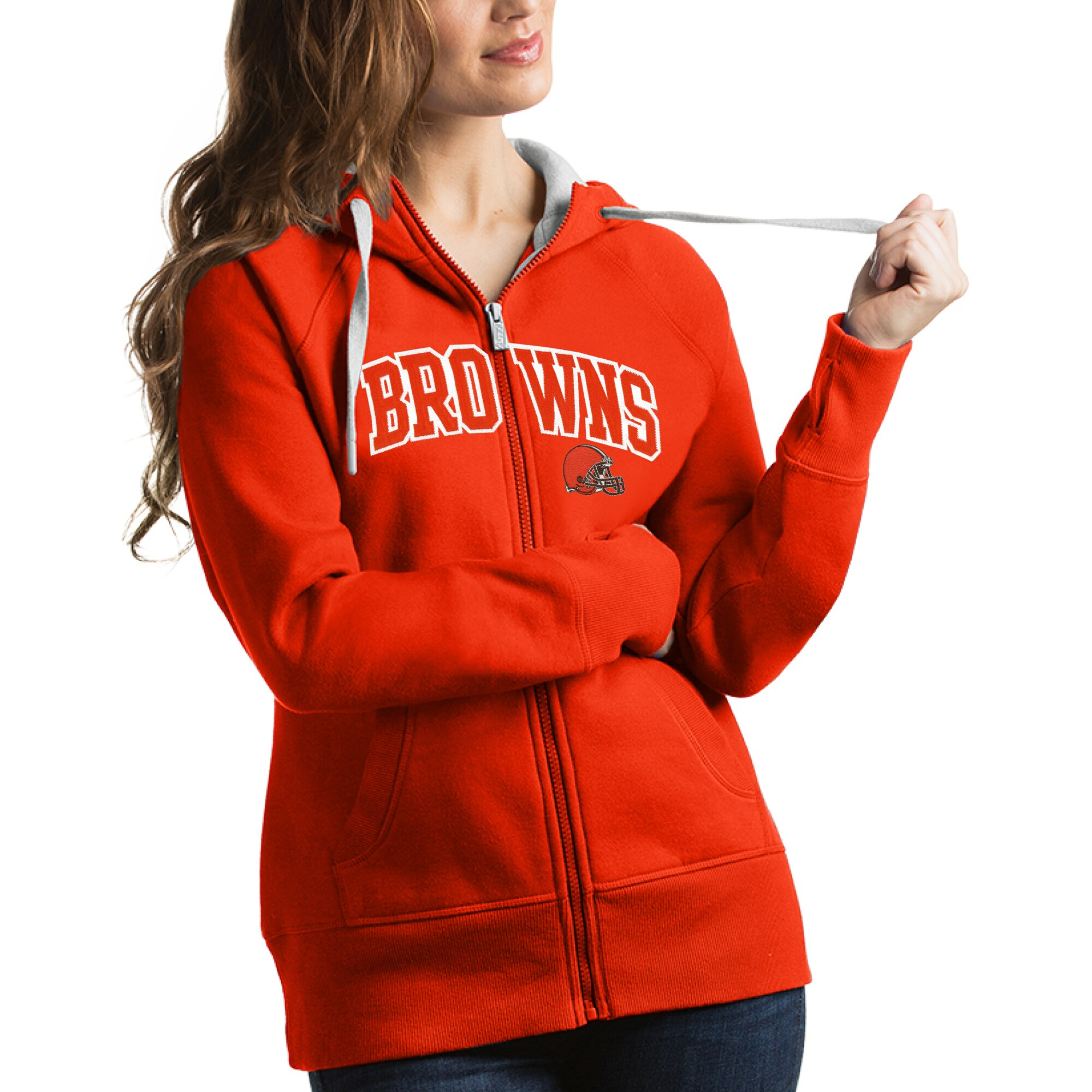 Cleveland Browns Antigua Women's Victory Full-Zip Hoodie - Orange