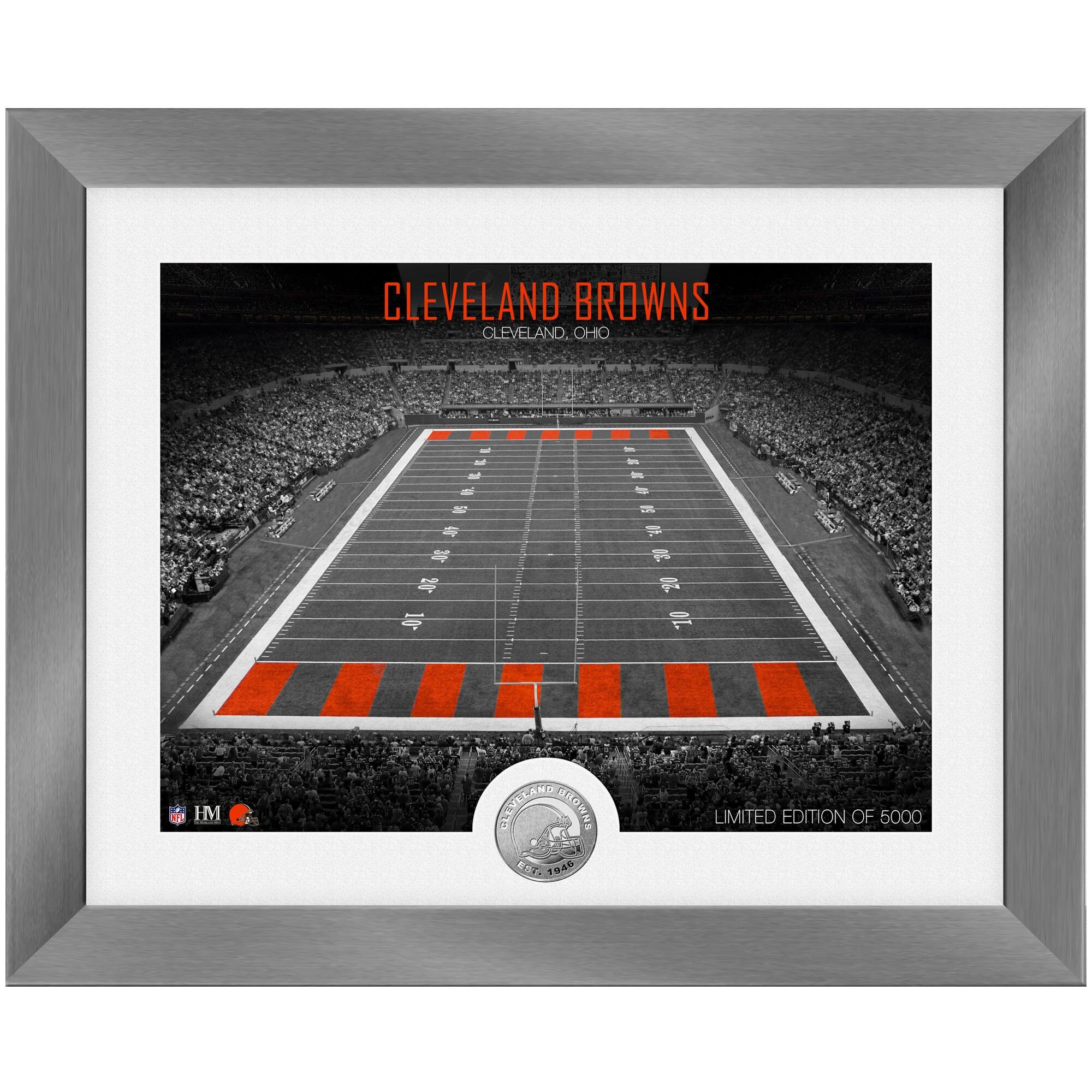 Cleveland Browns Highland Mint 13'' x 16'' Art Deco Stadium Silver Coin Photo Mint