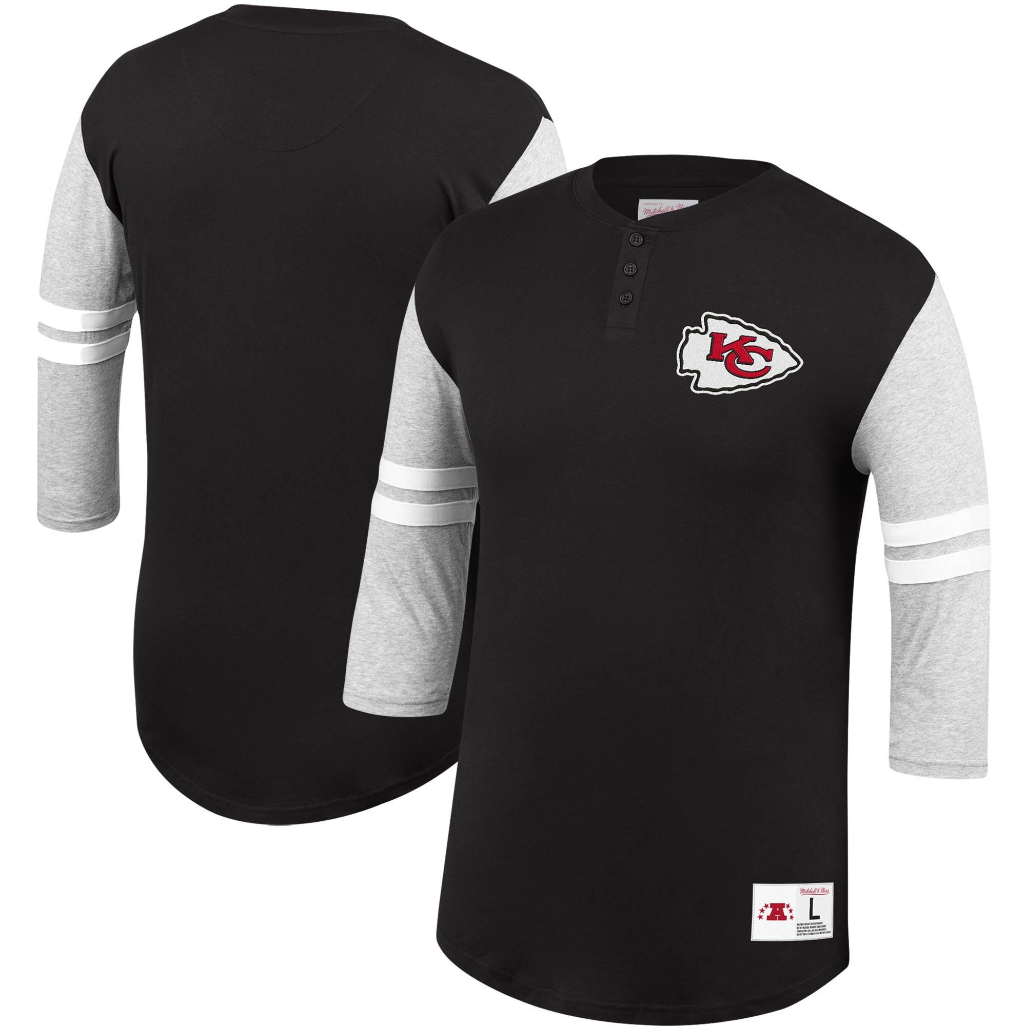 Kansas City Chiefs Mitchell & Ness Team Logo 3/4-Sleeve Henley T-Shirt - Black