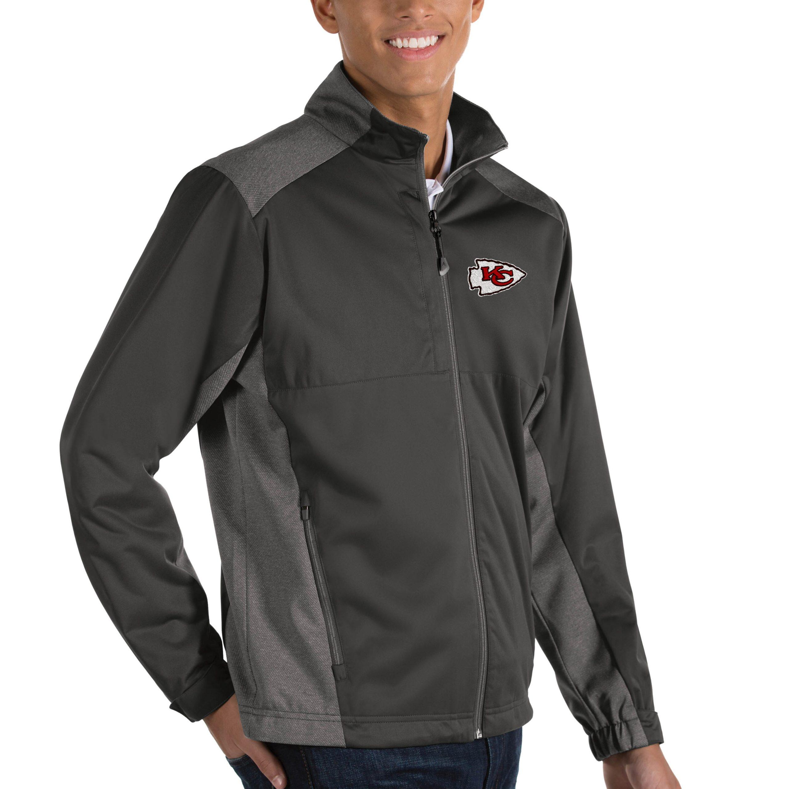 Kansas City Chiefs Antigua Revolve Big & Tall Full-Zip Jacket - Heather Charcoal