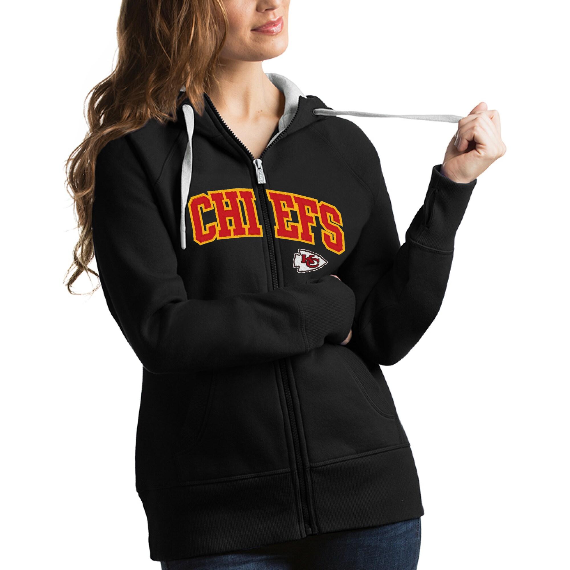 Kansas City Chiefs Antigua Women's Victory Full-Zip Hoodie - Black