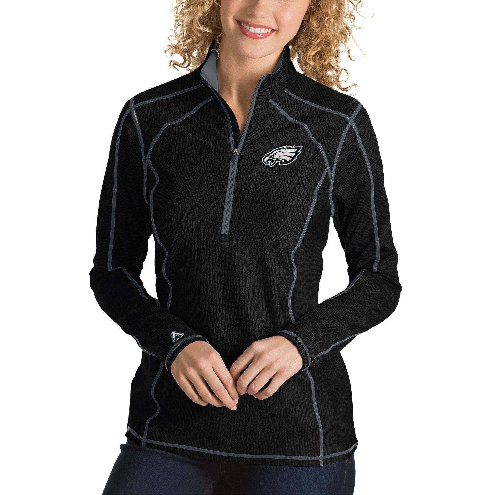 Philadelphia Eagles Antigua Women's Tempo Desert Dry Quarter-Zip Jacket - Heather Black