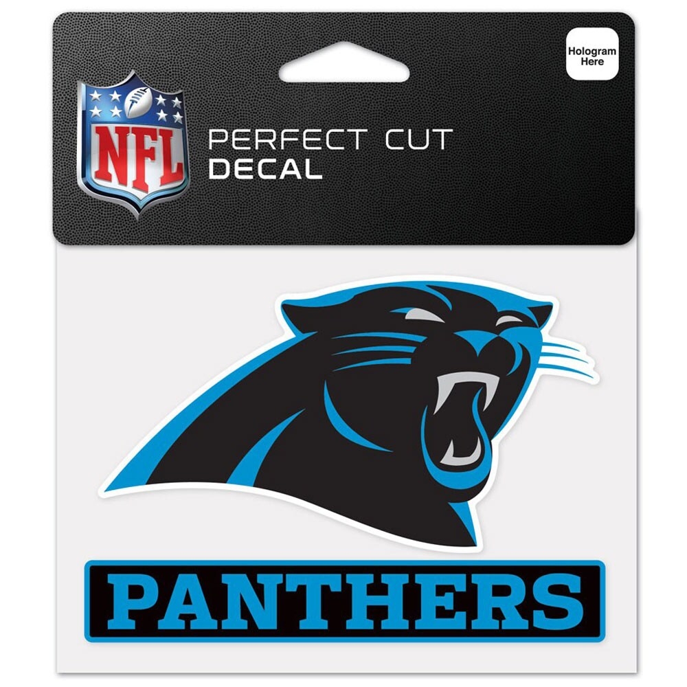 """Carolina Panthers WinCraft 4"""" x 5"""" Perfect Cut Logo Slogan Decal"""