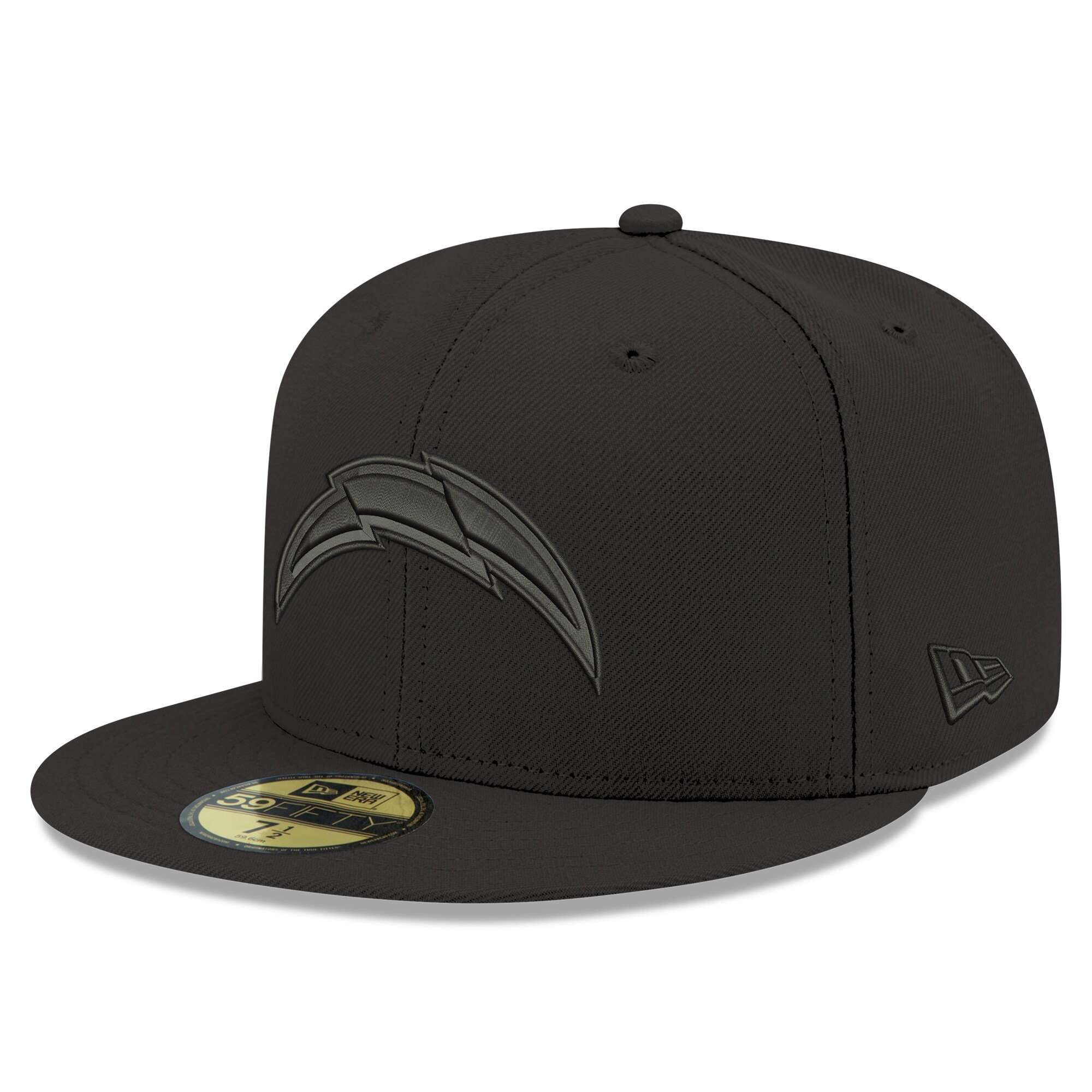 Los Angeles Chargers New Era Black on Black 59FIFTY Fitted Hat - Black