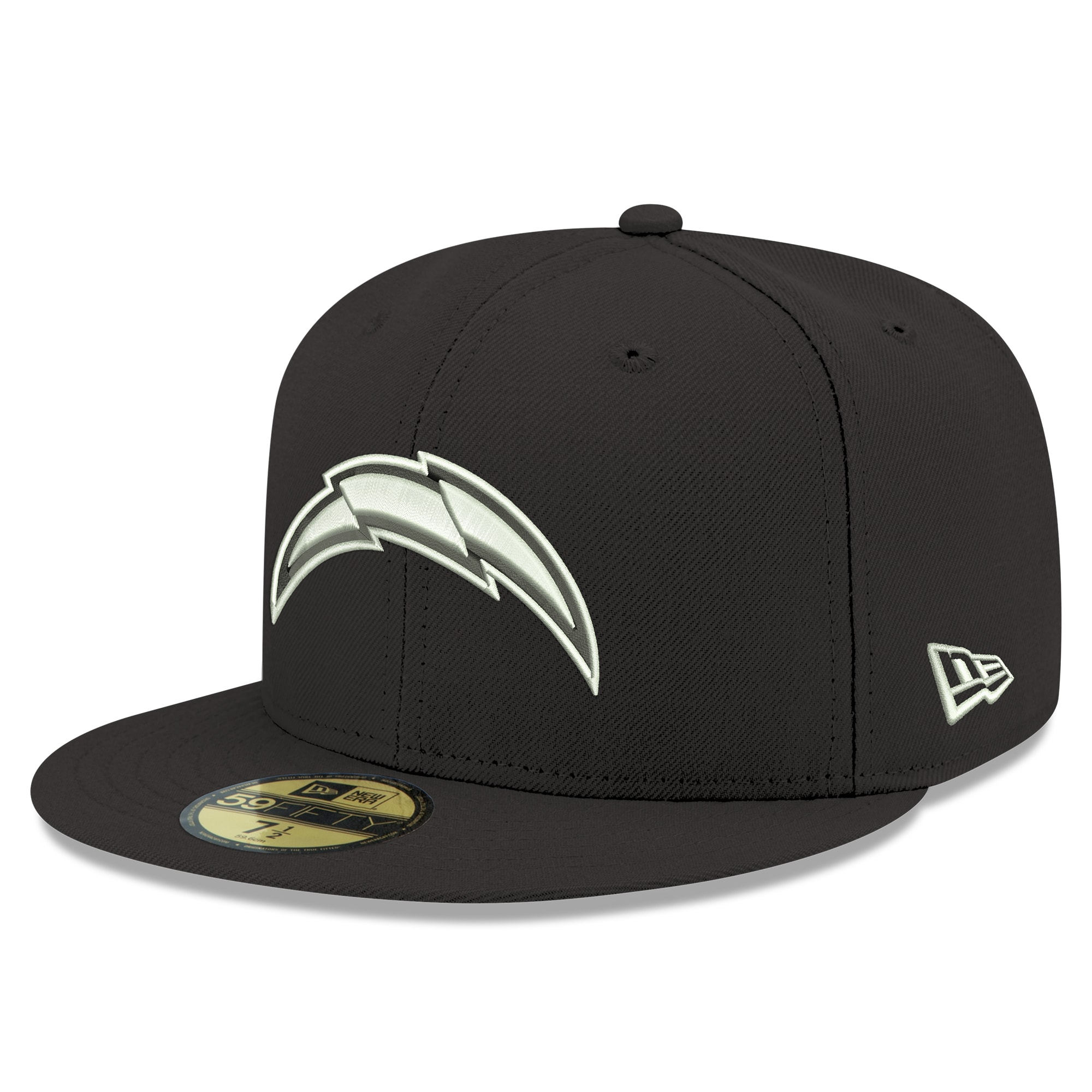 Los Angeles Chargers New Era B-Dub Logo 59FIFTY Fitted Hat - Black