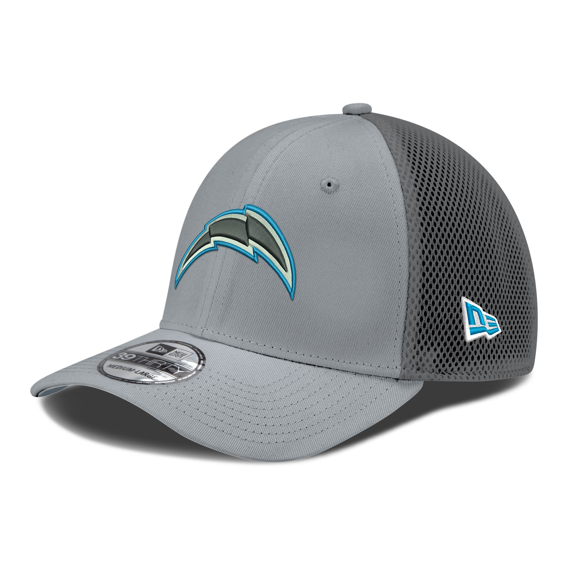 Los Angeles Chargers New Era Gray Grayed Out Neo 2 Logo 39THIRTY Flex Hat - Gray/Graphite