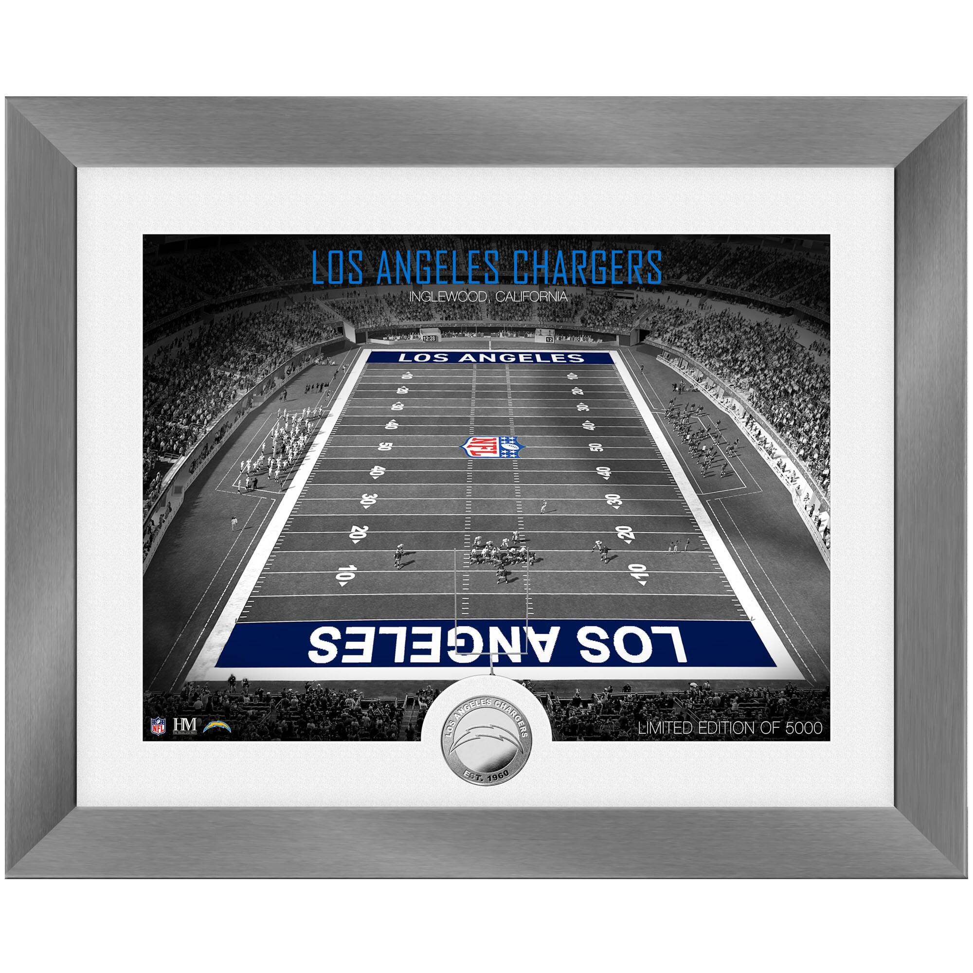 Los Angeles Chargers Highland Mint 13'' x 16'' Art Deco Stadium Silver Coin Photo Mint