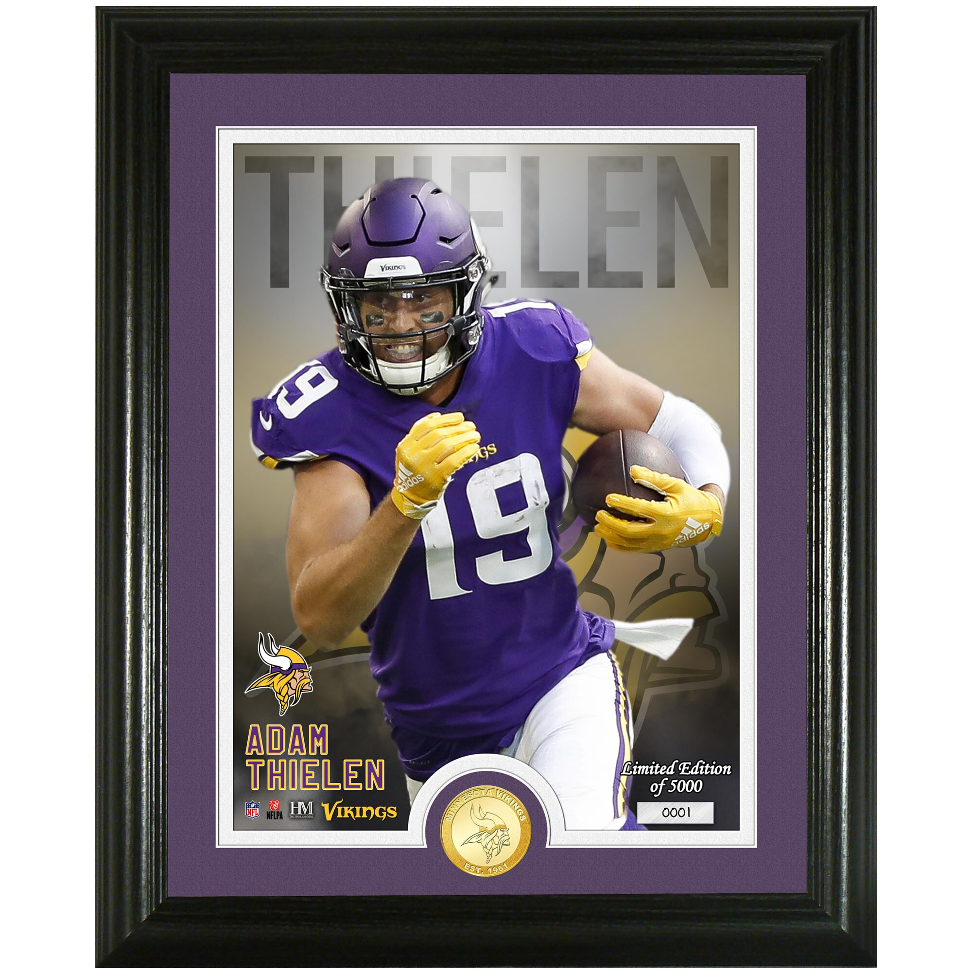 Adam Thielen Minnesota Vikings Highland Mint 13'' x 16'' Bronze Coin Photo Mint