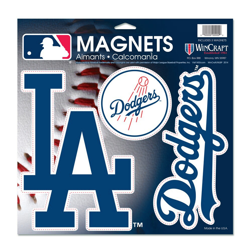 """Los Angeles Dodgers WinCraft 11"""" X 11"""" 3-pack Car Magnets"""
