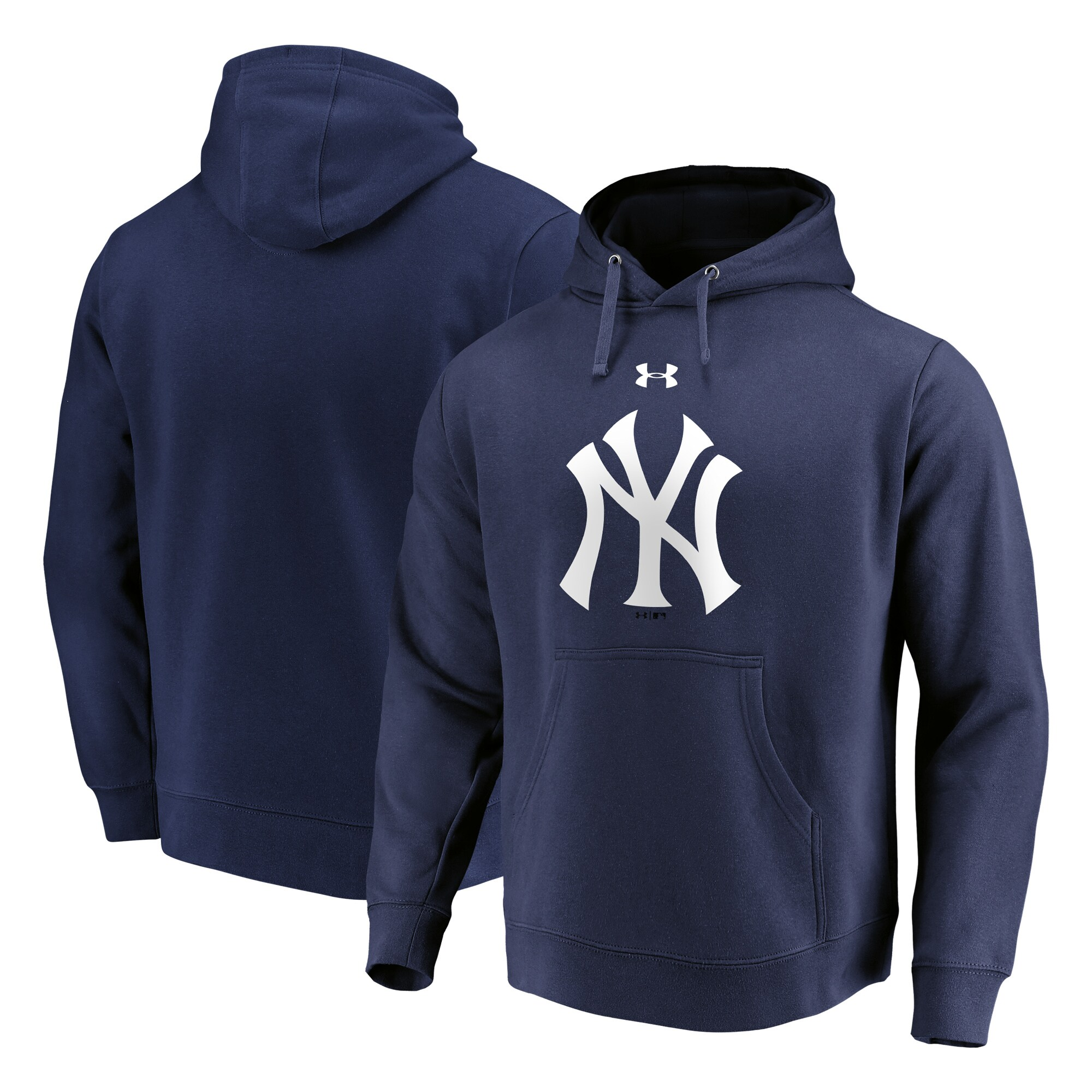 New York Yankees Under Armour Commitment Team Mark Performance Pullover Hoodie - Navy