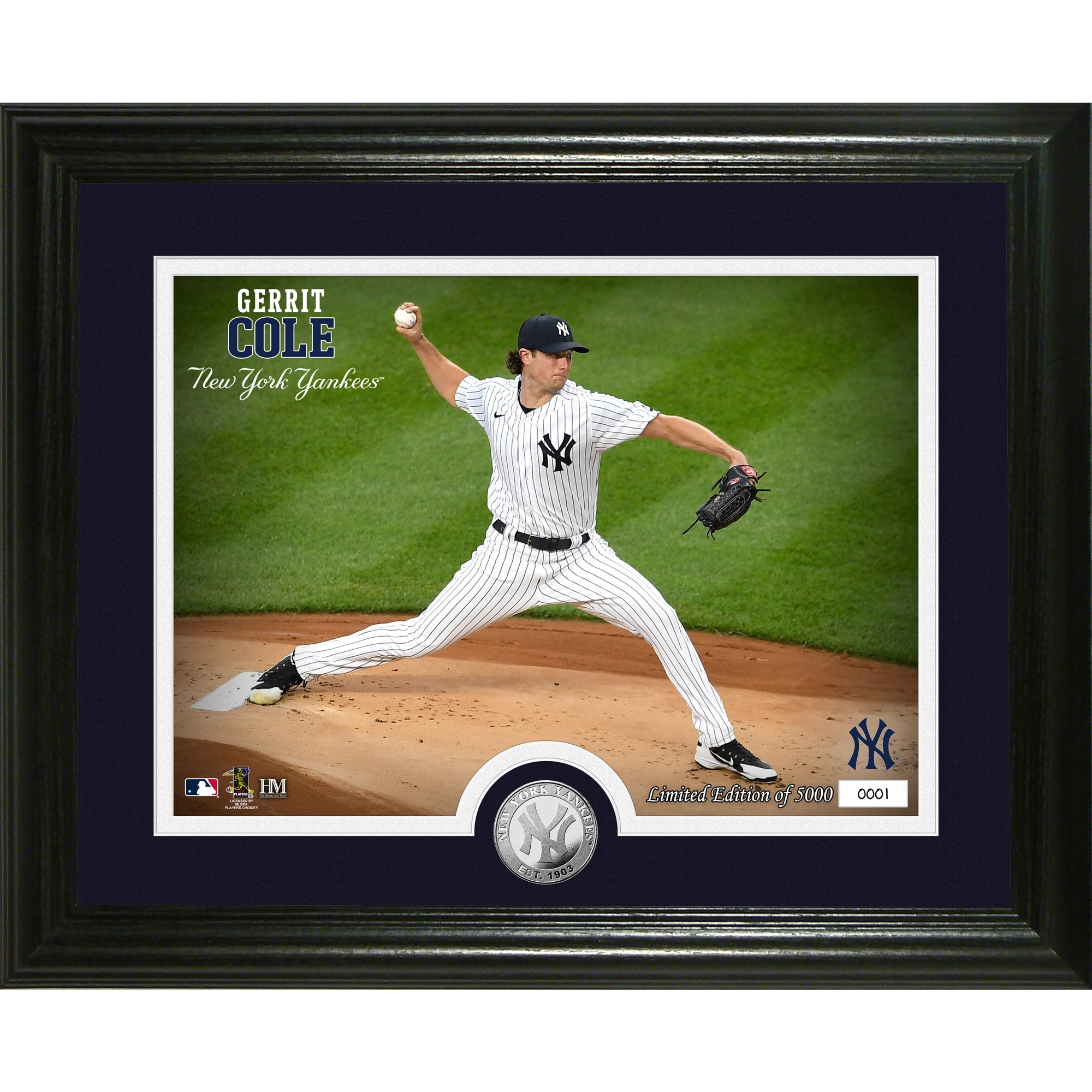"Gerrit Cole New York Yankees Highland Mint 13"" x 16"" Yankee Stadium First Start Silver Coin Photo Mint"