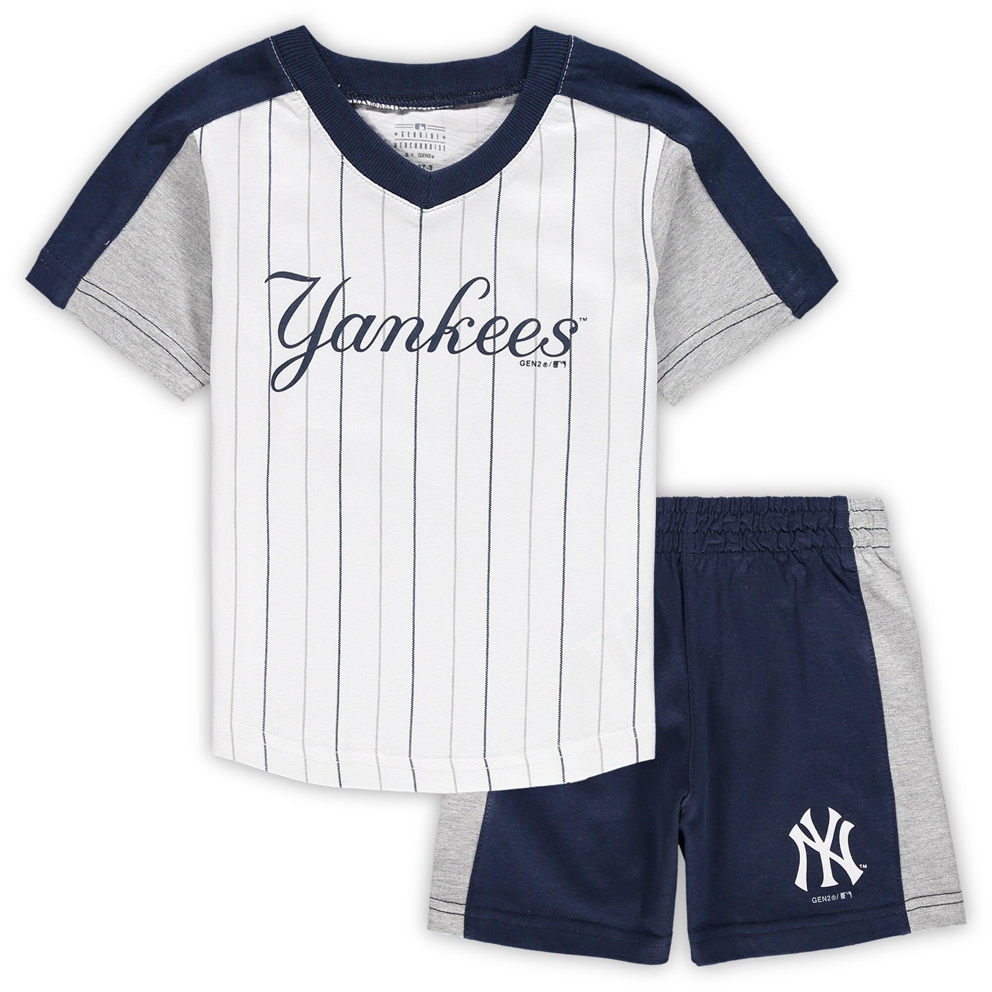 New York Yankees Toddler The Lineup V-Neck & Shorts Set - White/Navy