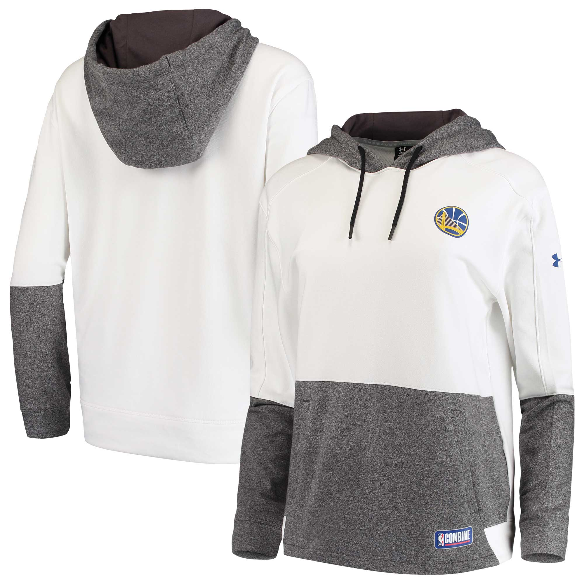 Golden State Warriors Under Armour Women's Combine Authentic Baseline Layer Threadborne Hoodie - White/Gray
