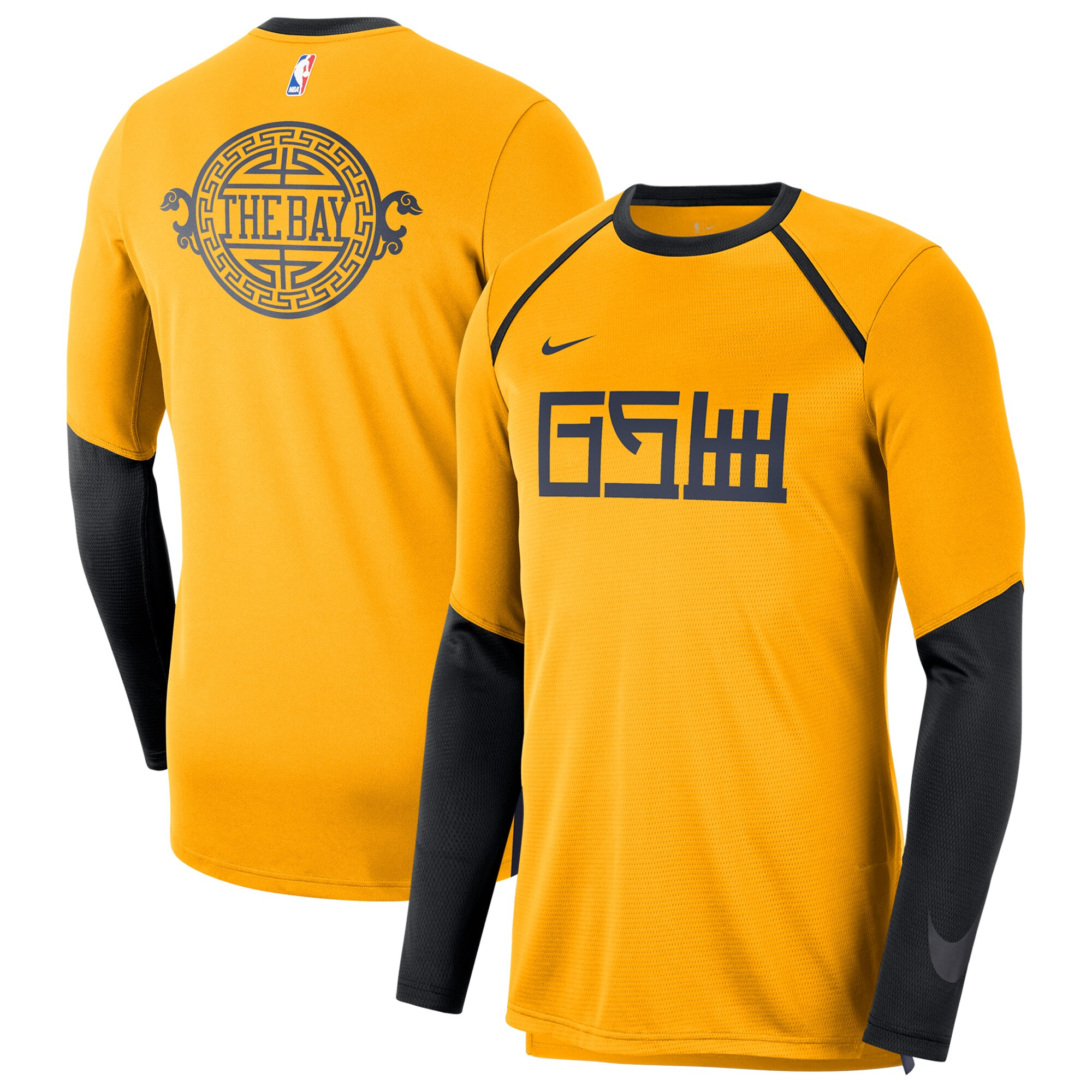 Golden State Warriors Nike City Edition Long Sleeve Shooting T-Shirt - Gold