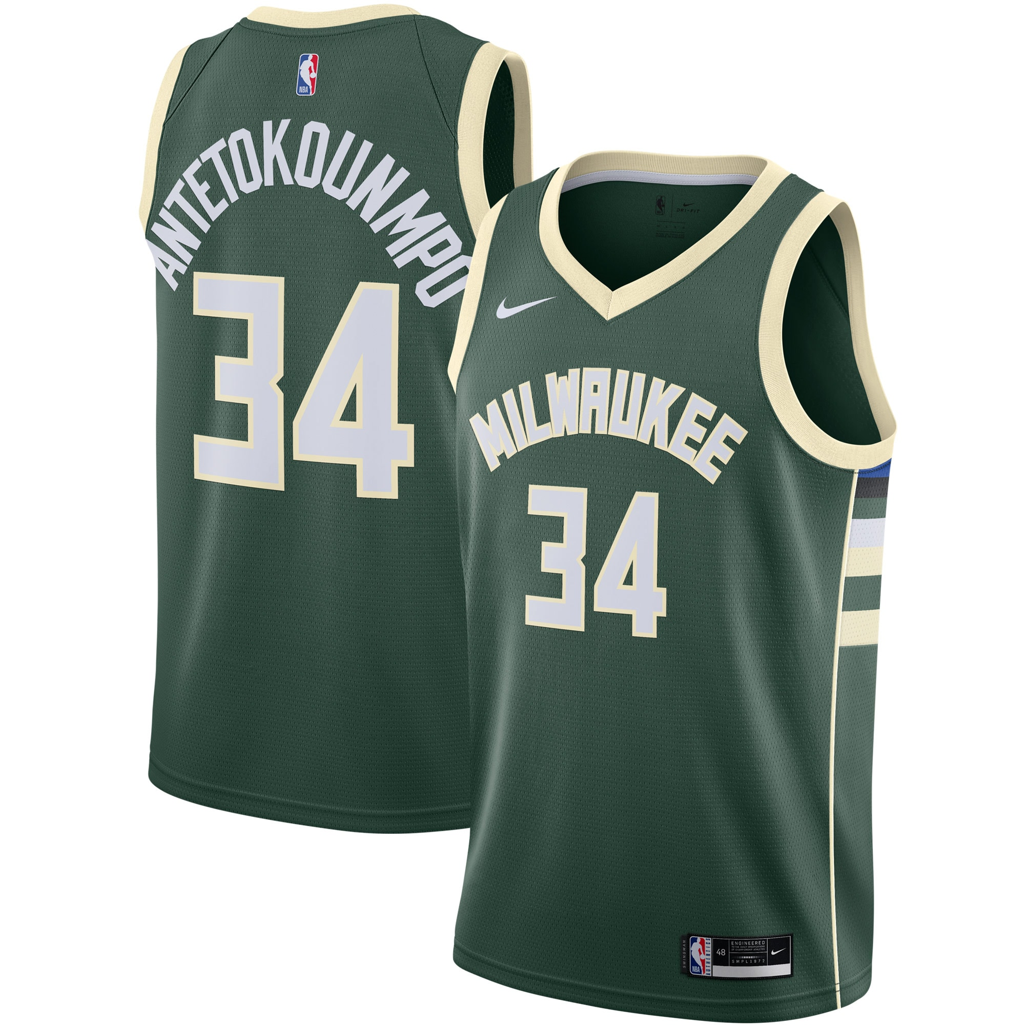 Giannis Antetokounmpo Milwaukee Bucks Nike 2020/21 Swingman Jersey Green - Icon Edition
