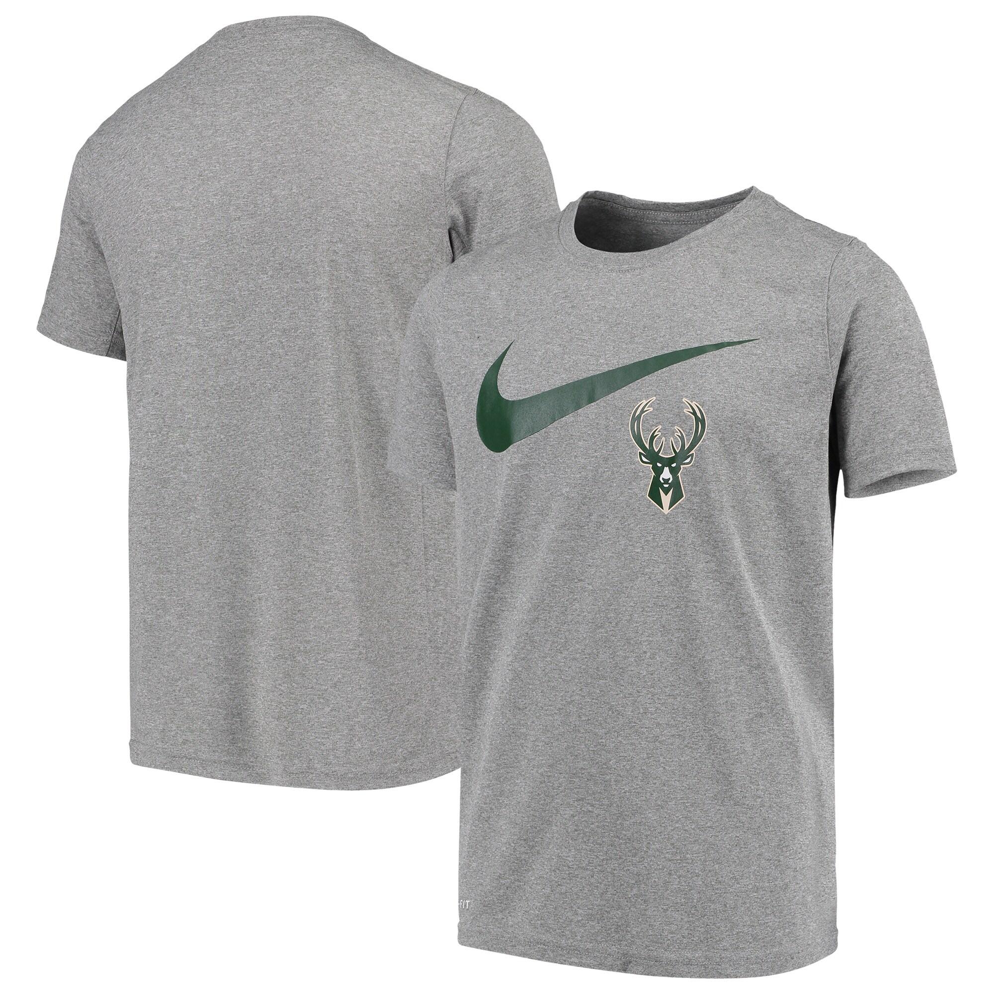 Milwaukee Bucks Nike Youth Swoosh Logo Legend T-Shirt - Heathered Gray