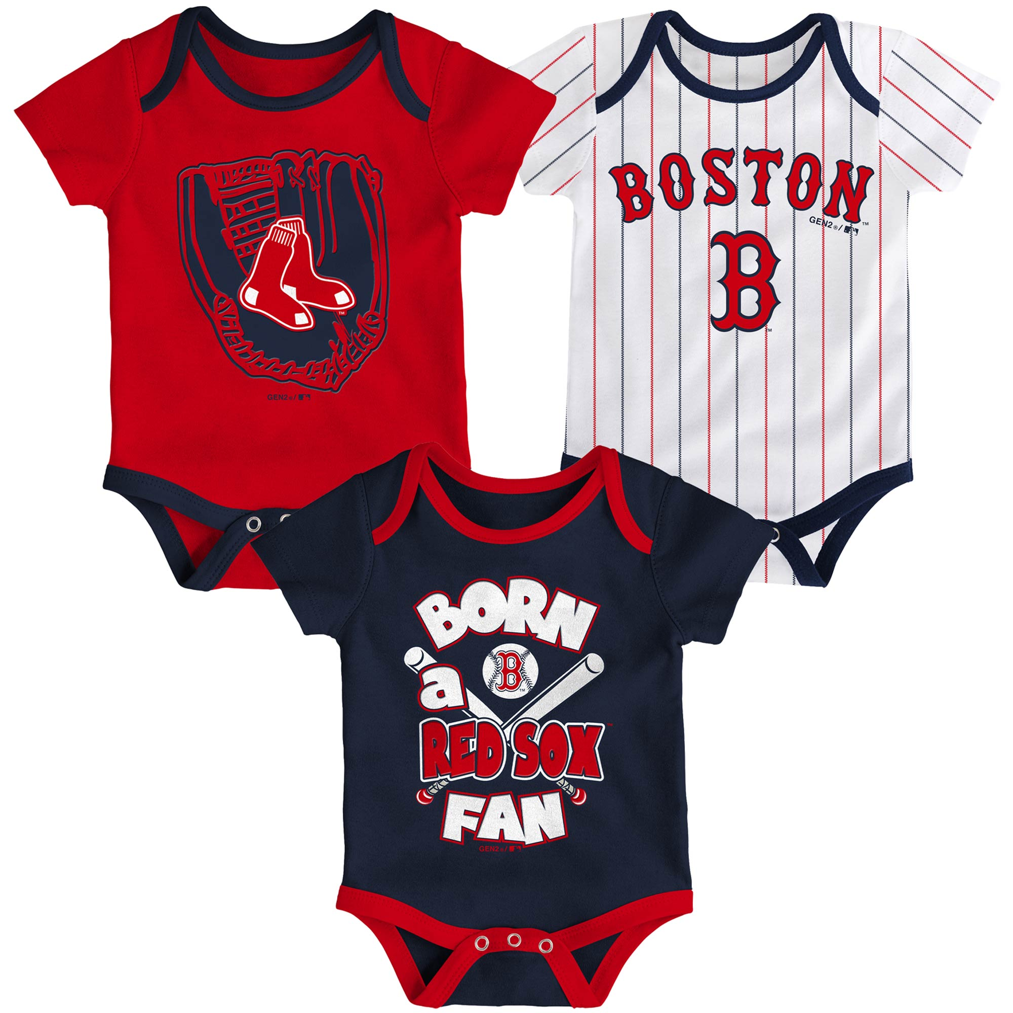 Boston Red Sox Newborn & Infant Future Number One 3-Pack Bodysuit Set - Navy/Red/White