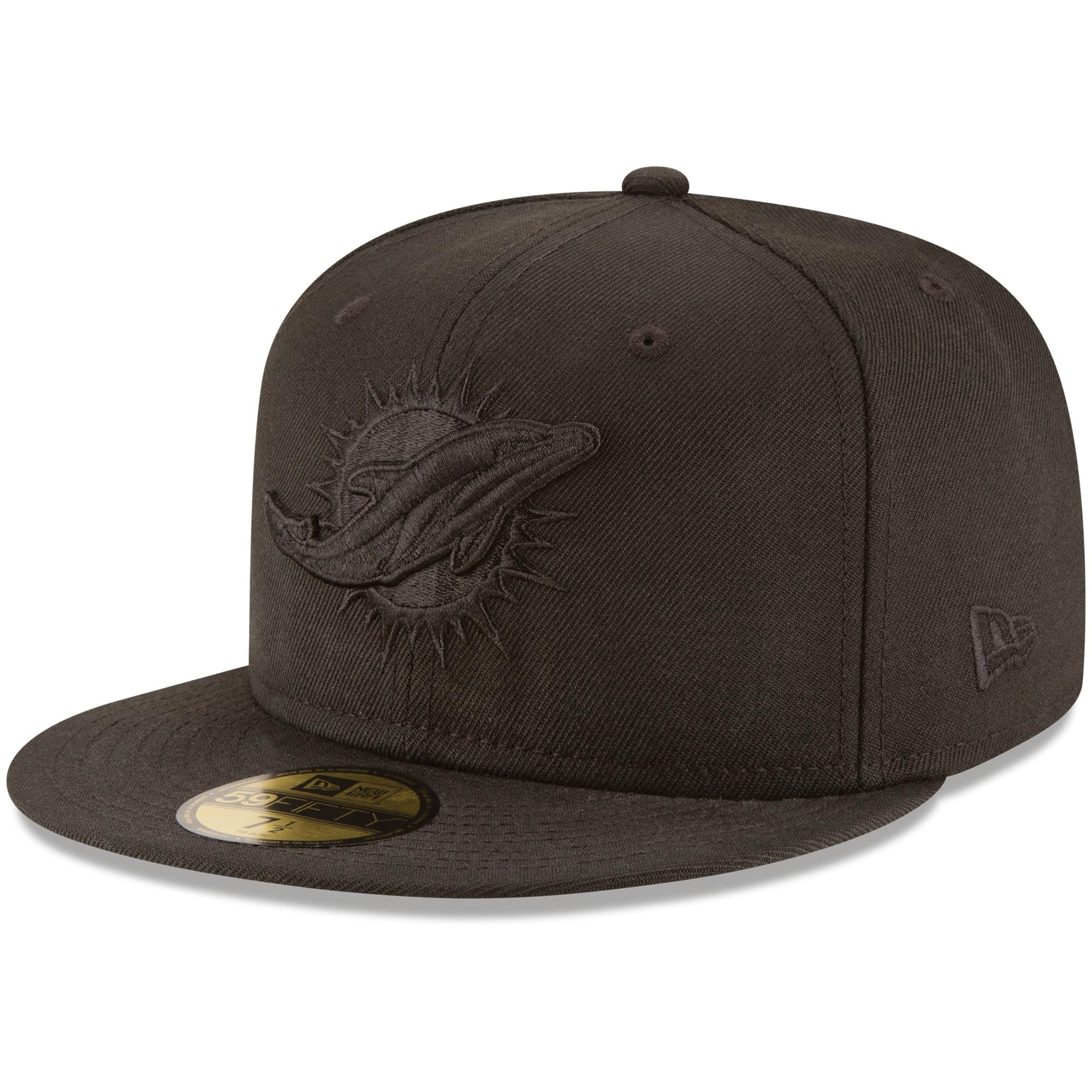Miami Dolphins New Era Black on Black 59FIFTY Fitted Hat
