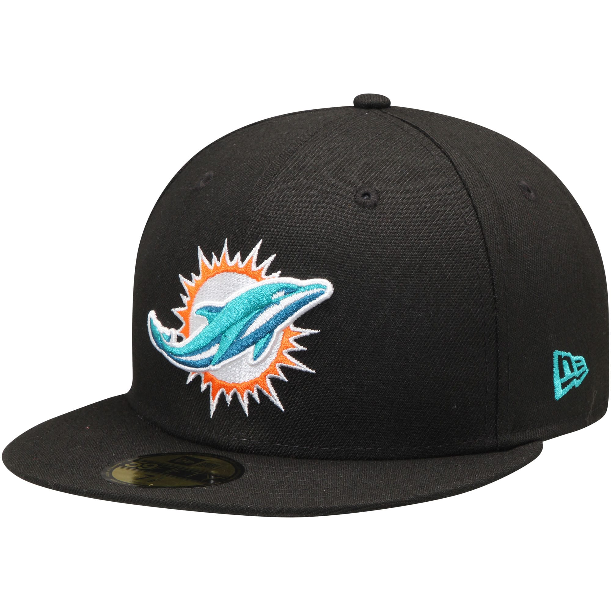 Miami Dolphins New Era Primary Logo 59FIFTY Fitted Hat - Black