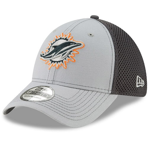 Miami Dolphins New Era Primary Logo Grayed Out Neo 2 39THIRTY Flex Hat - Gray/Graphite