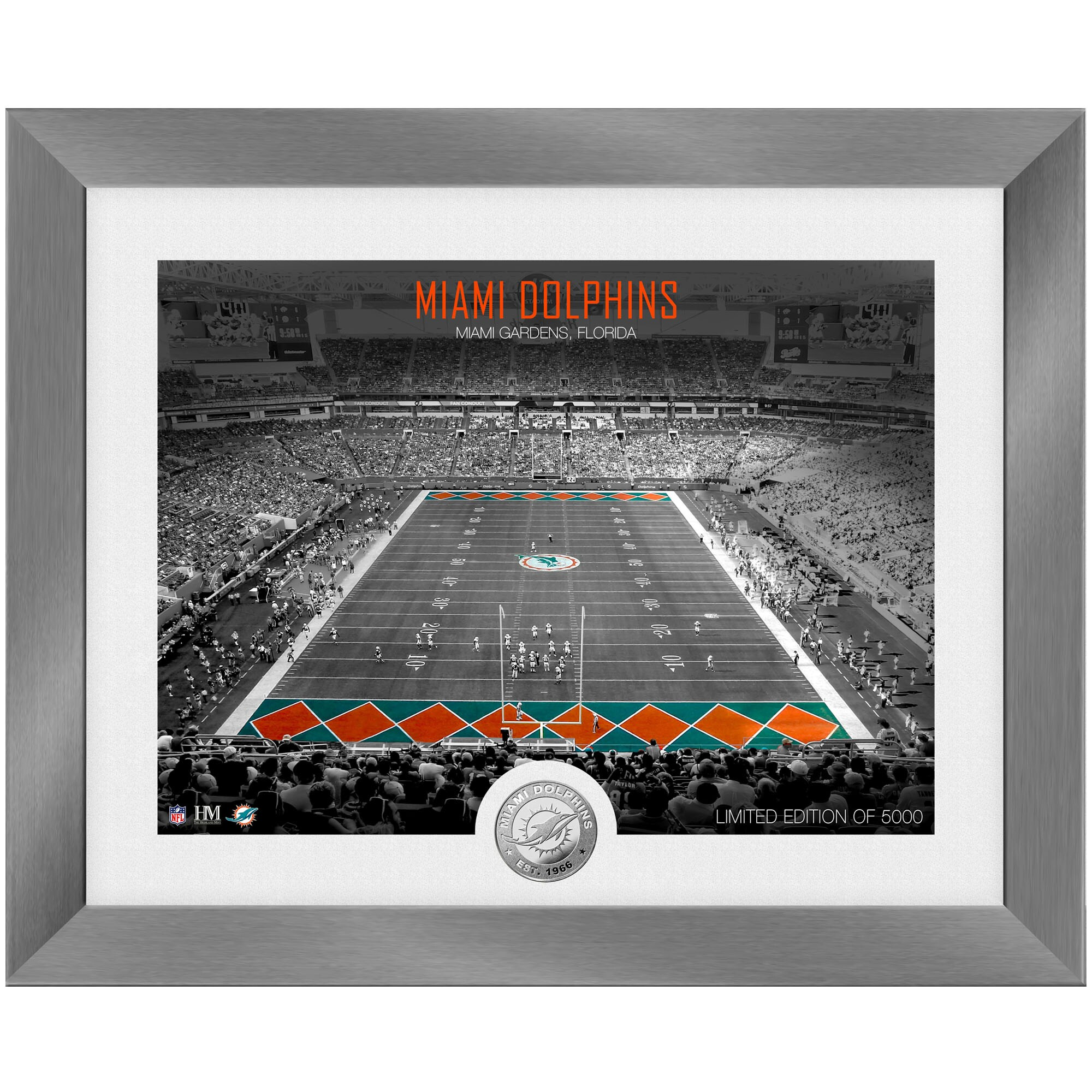 Miami Dolphins Highland Mint 13'' x 16'' Art Deco Stadium Silver Coin Photo Mint