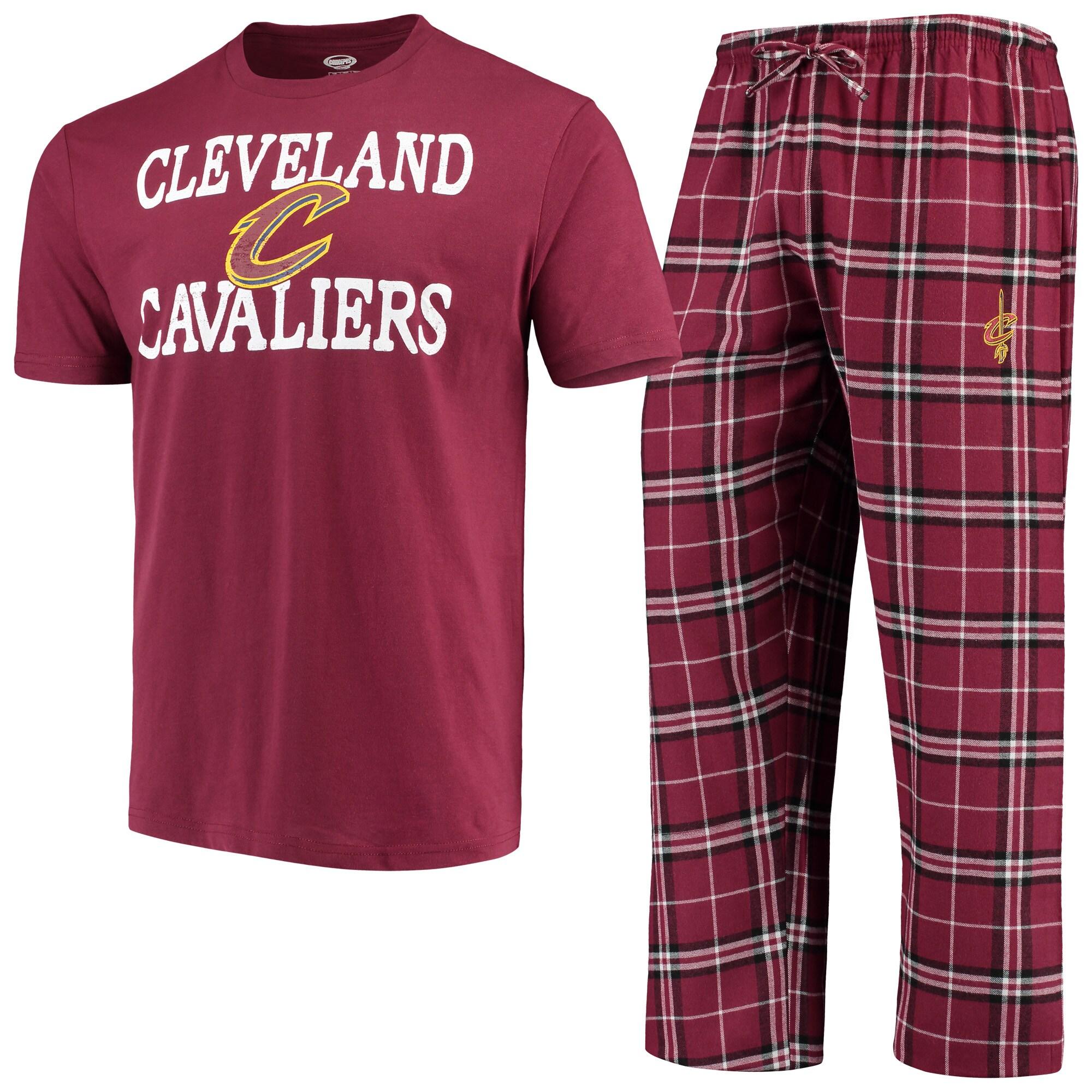 Cleveland Cavaliers Concepts Sport Duo T-Shirt & Pants Sleep Set - Wine/Black