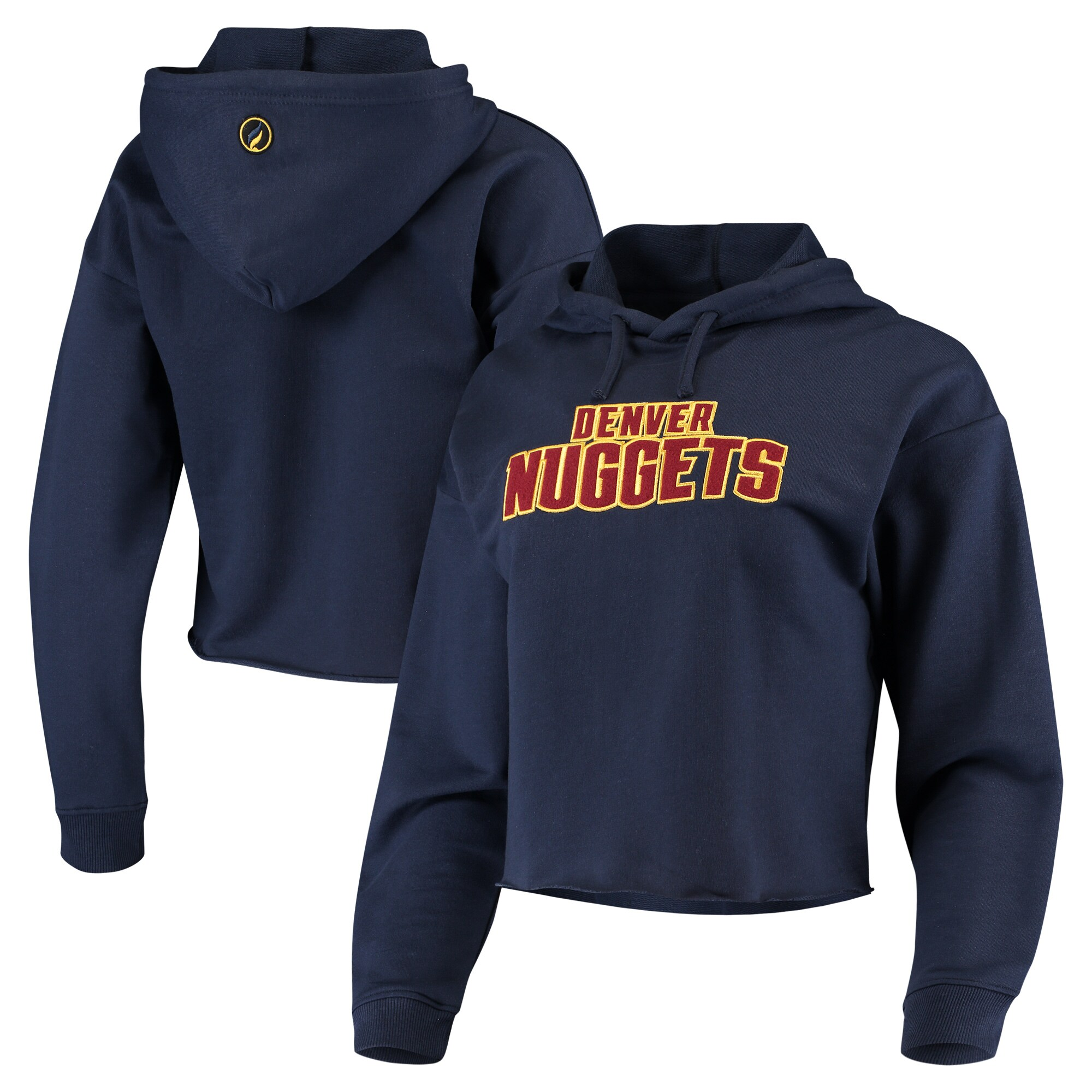 Denver Nuggets Women's Velour Cropped Pullover Hoodie - Navy