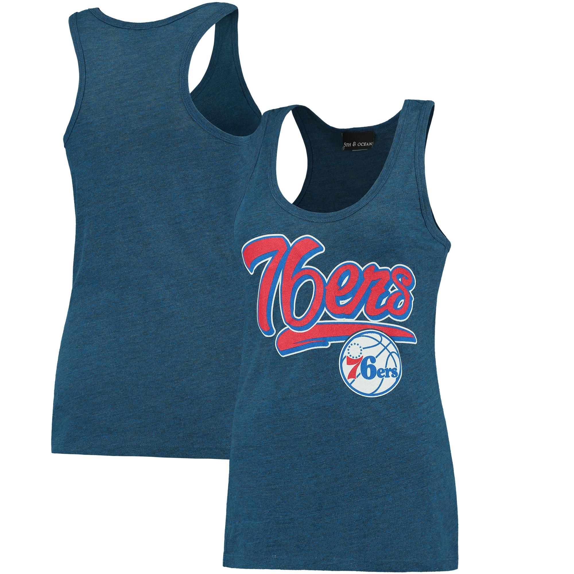 Philadelphia 76ers New Era Women's Tri-Blend Tank Top - Heathered Royal