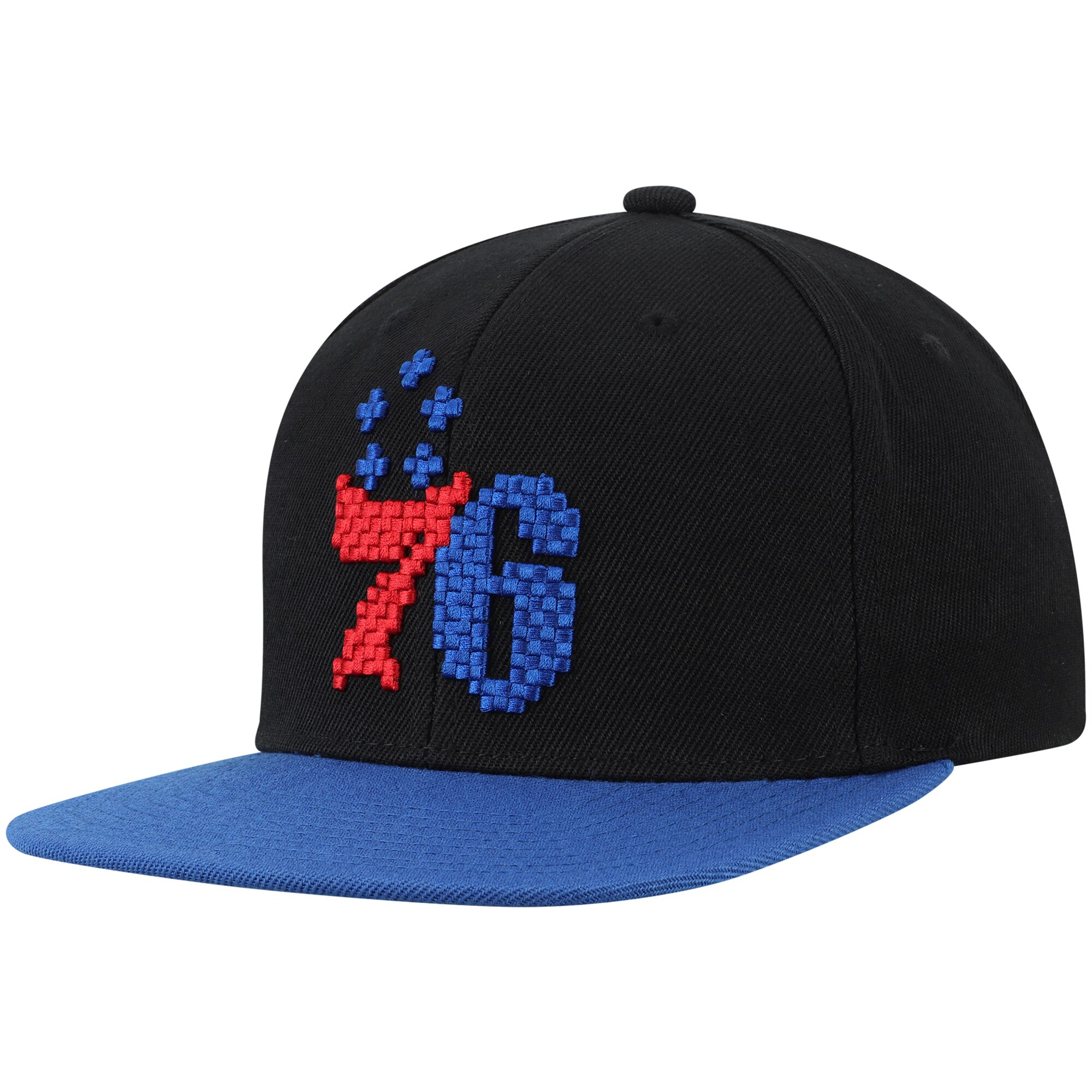 Philadelphia 76ers Mitchell & Ness 8-Bit Two-Tone Adjustable Snapback Hat - Black