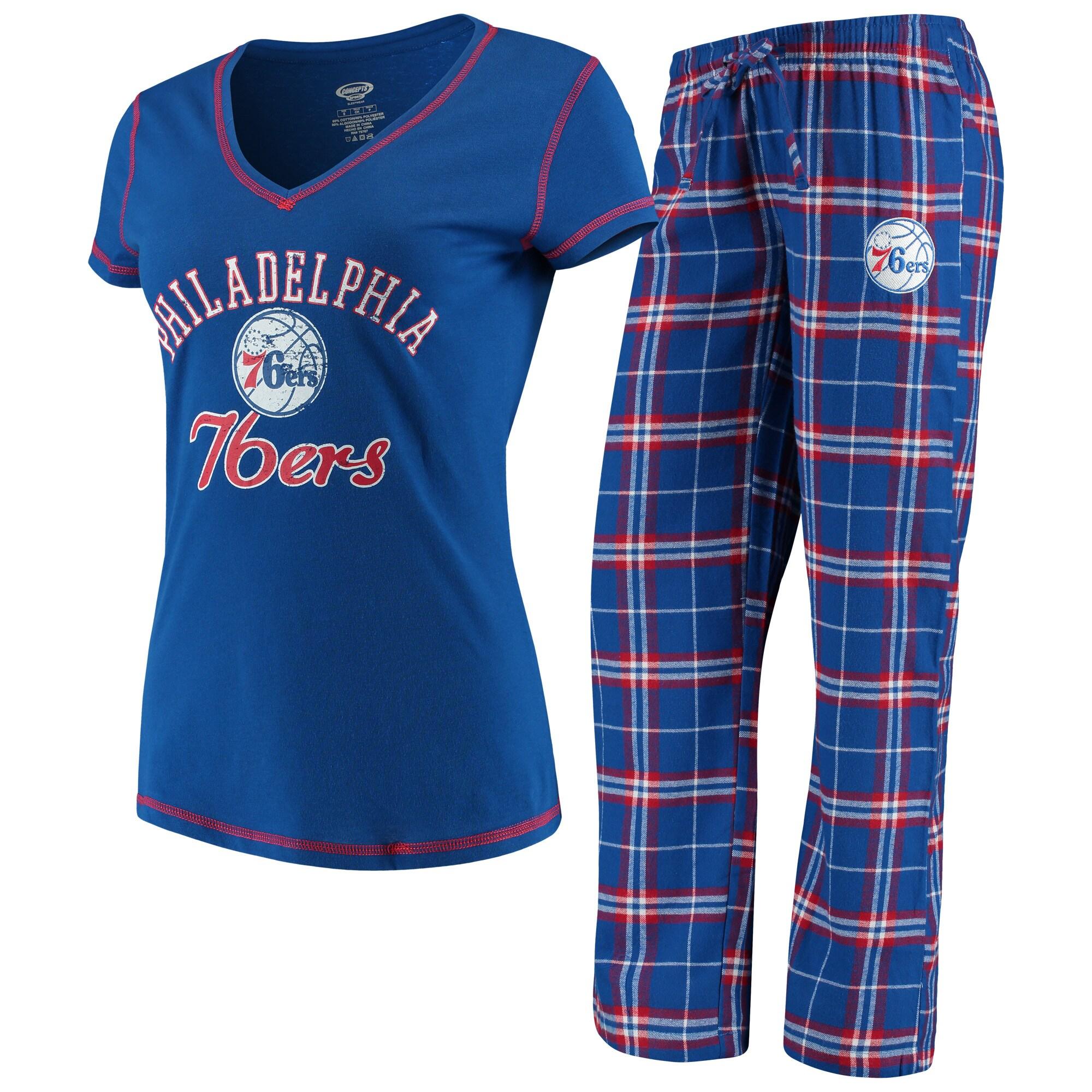 Philadelphia 76ers Concepts Sport Women's Duo V-Neck T-Shirt & Pants Sleep Set - Royal