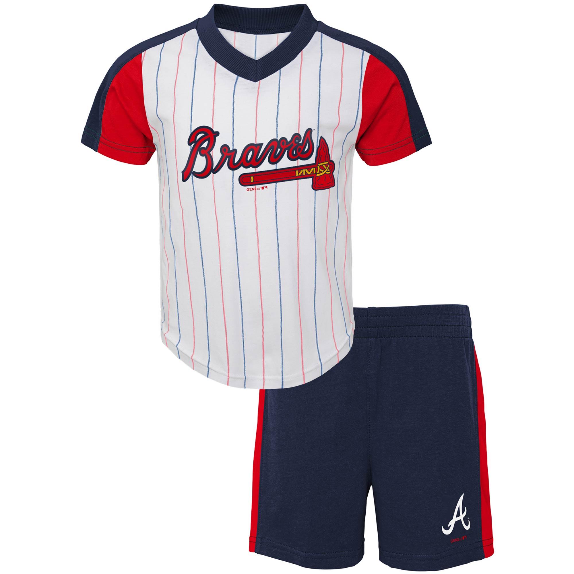 Atlanta Braves Toddler The Lineup V-Neck & Shorts Set - White/Navy
