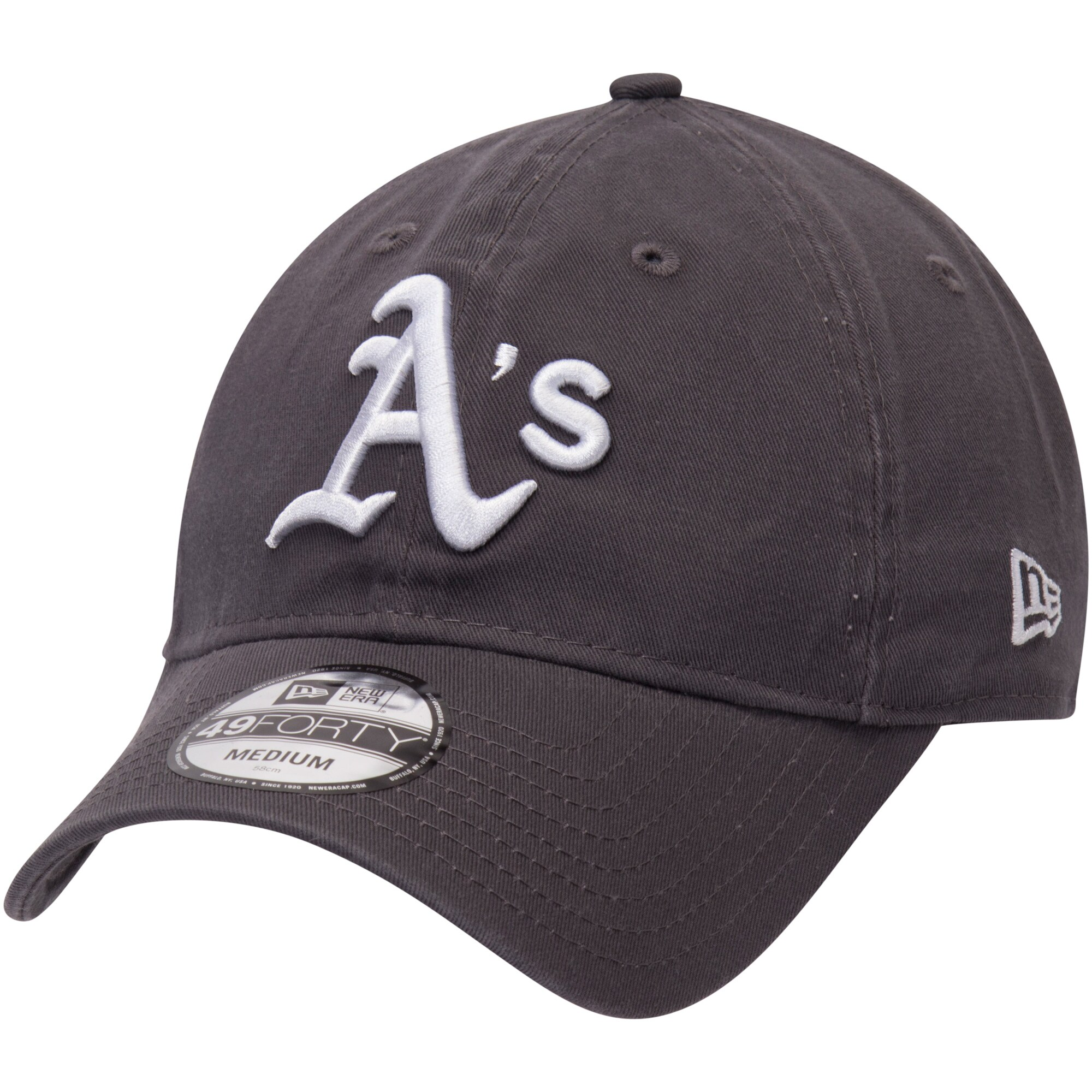 Oakland Athletics New Era Core 49FORTY Fitted Hat - Graphite
