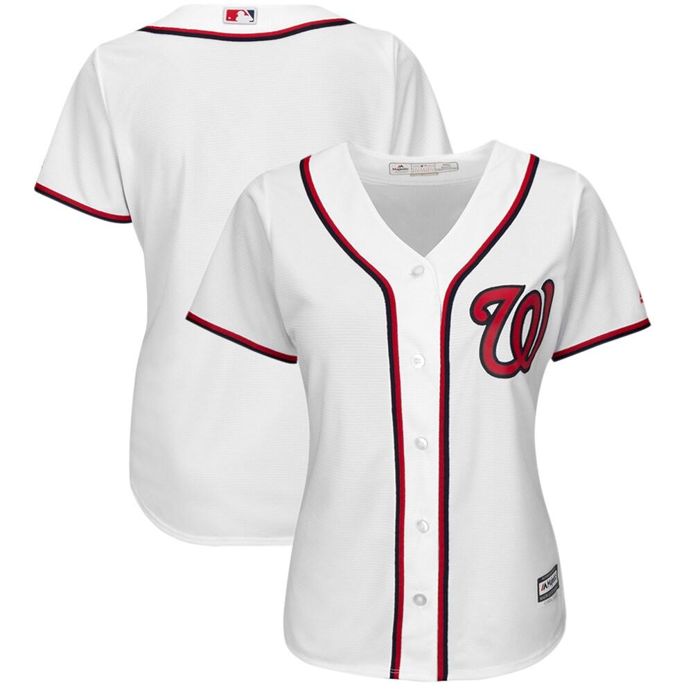 Washington Nationals Majestic Women's Plus Size Home Cool Base Team Jersey - White