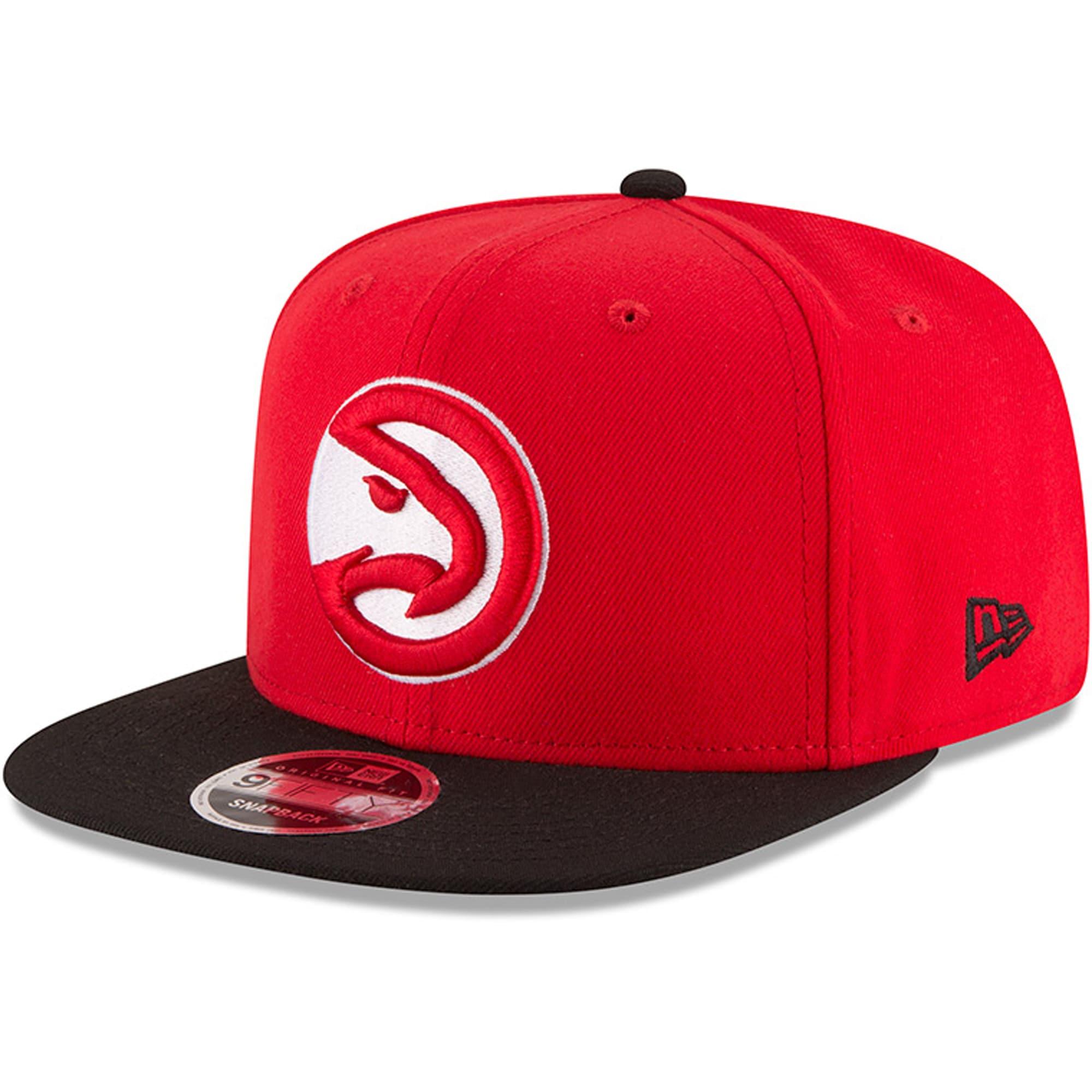 Atlanta Hawks New Era 2-Tone Original Fit 9FIFTY Adjustable Snapback Hat - Red/Black