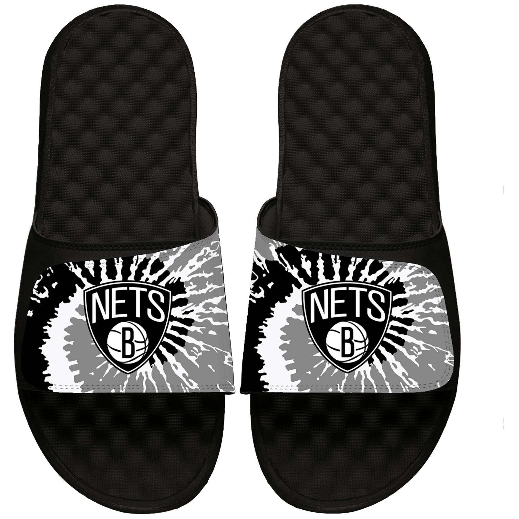 Brooklyn Nets ISlide Youth Tie Dye Slide Sandals - Black
