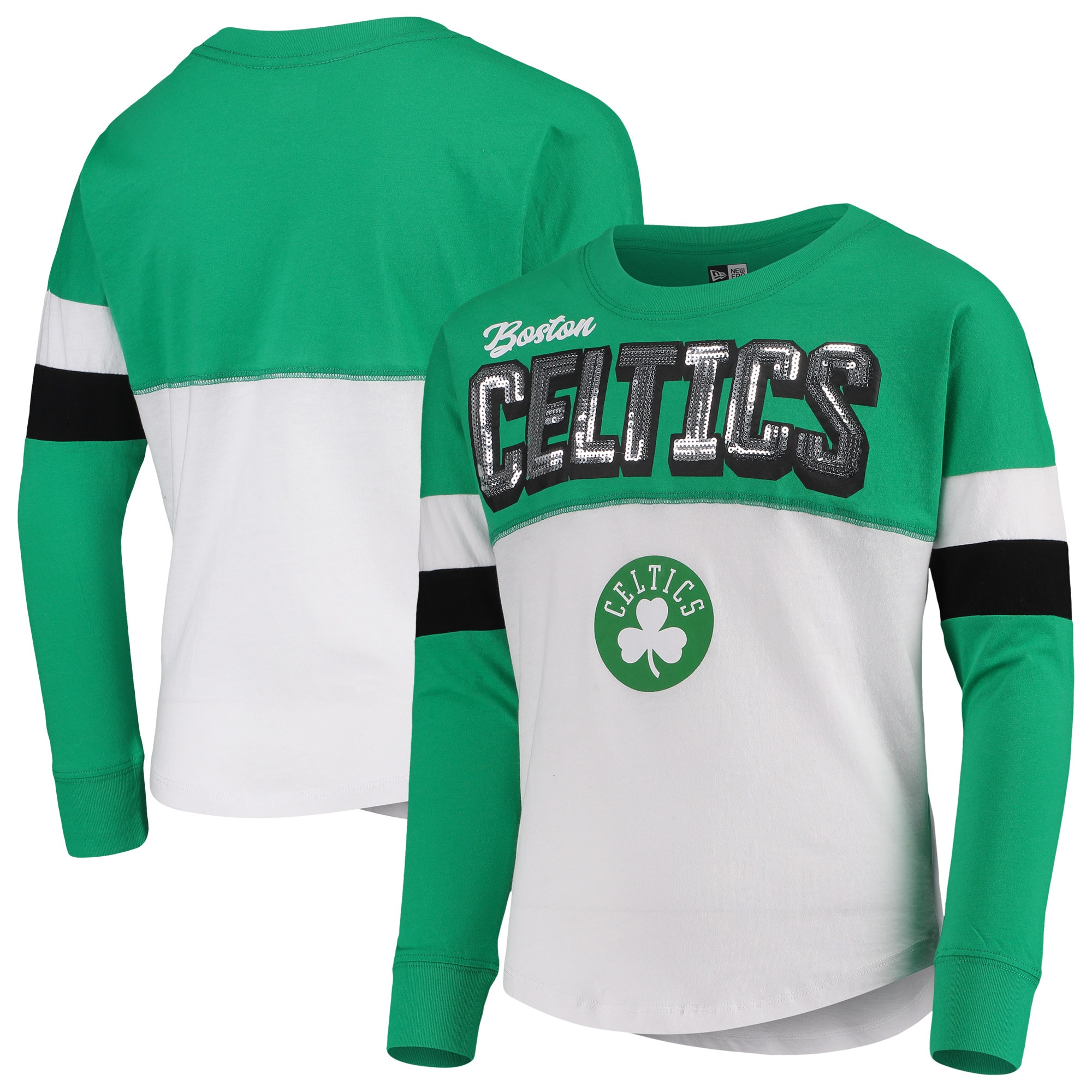 Boston Celtics New Era Girls Youth Long Sleeve Contrast Crew Neck T-Shirt - White