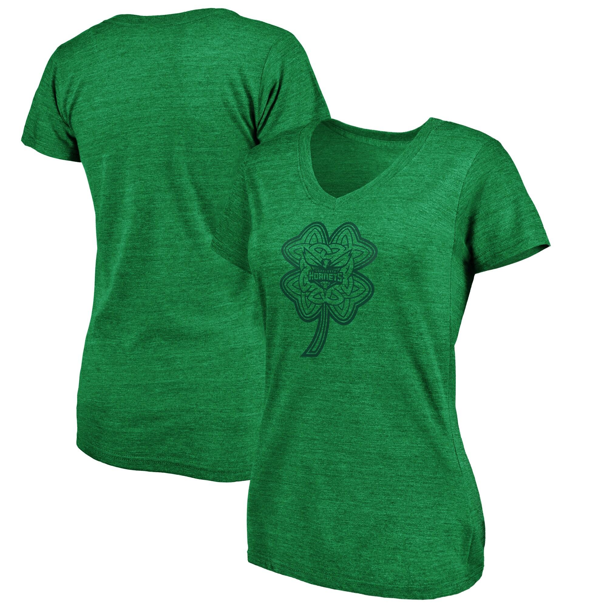Charlotte Hornets Fanatics Branded Women's St. Patrick's Day Celtic Charm Tri-Blend V-Neck T-Shirt - Green