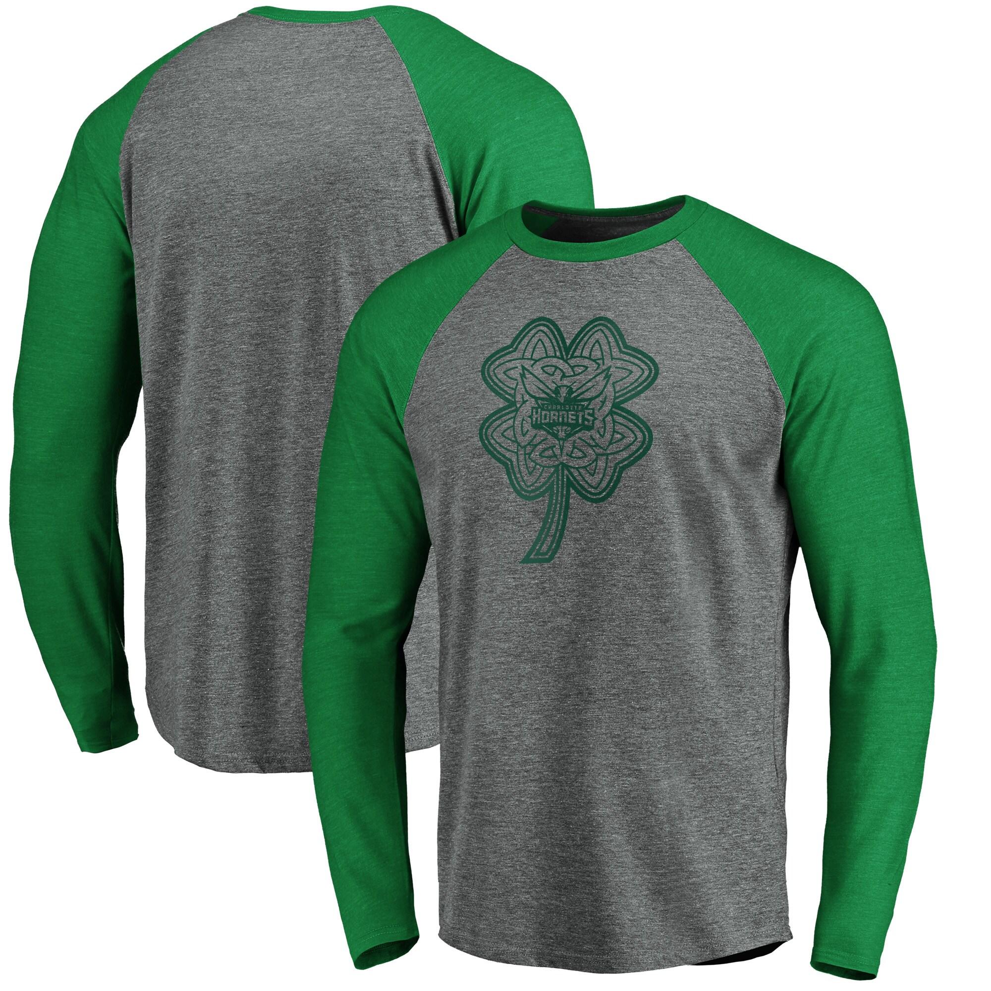 Charlotte Hornets Fanatics Branded St. Patrick's Day Celtic Charm Raglan Tri-Blend Long Sleeve T-Shirt - Heathered Gray