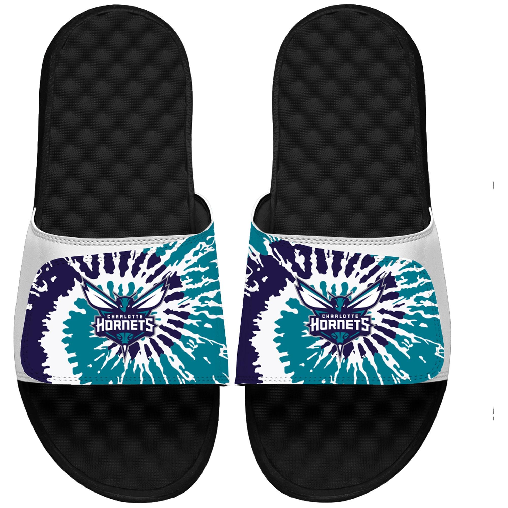 Charlotte Hornets ISlide Tie Dye Slide Sandals - White/Black