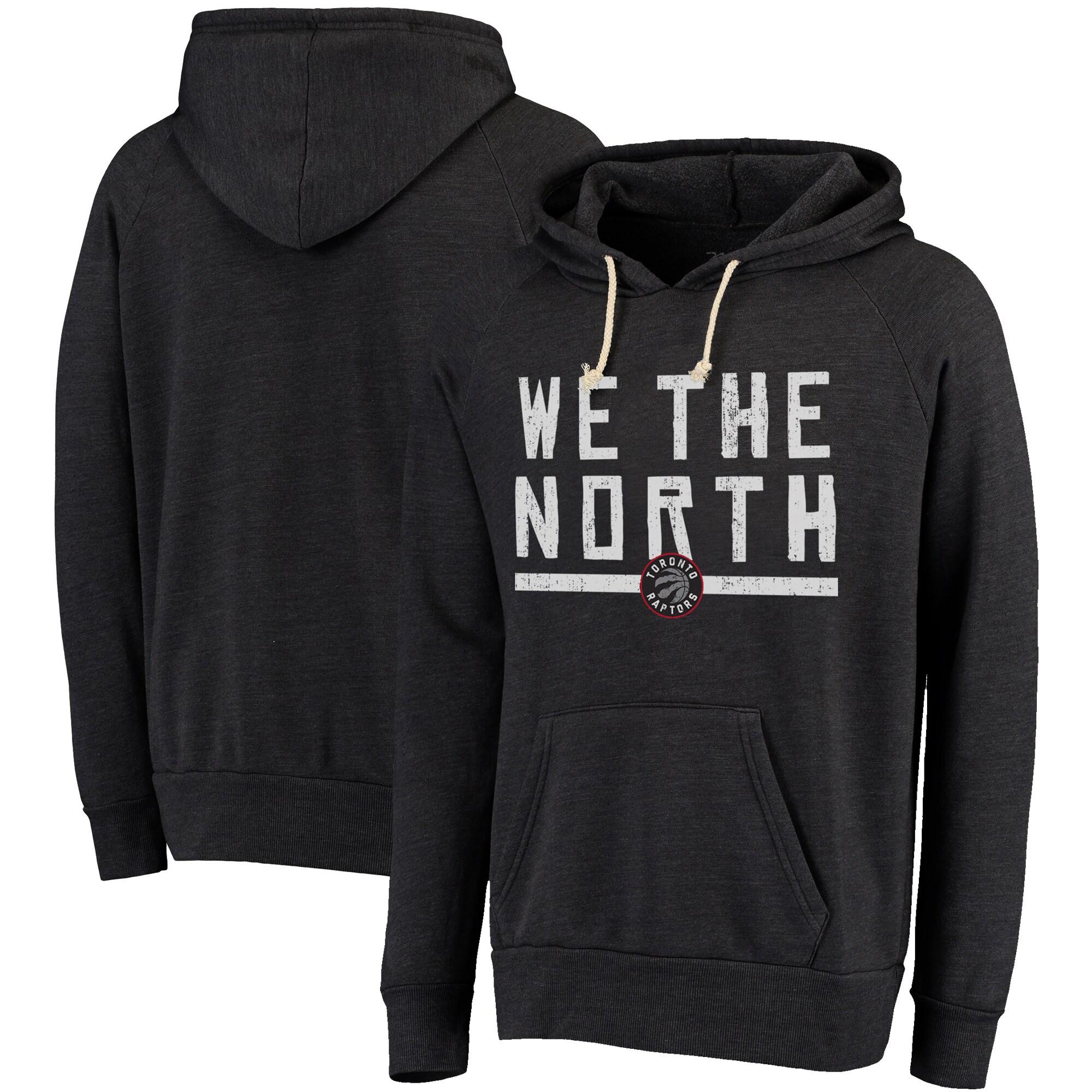 Toronto Raptors Majestic Threads Hometown Slogan Tri-Blend Pullover Hoodie - Black