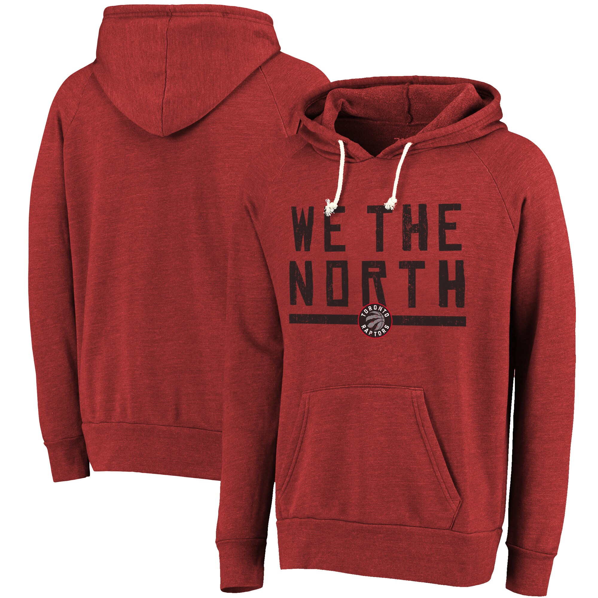 Toronto Raptors Majestic Threads Hometown Slogan Tri-Blend Pullover Hoodie - Red