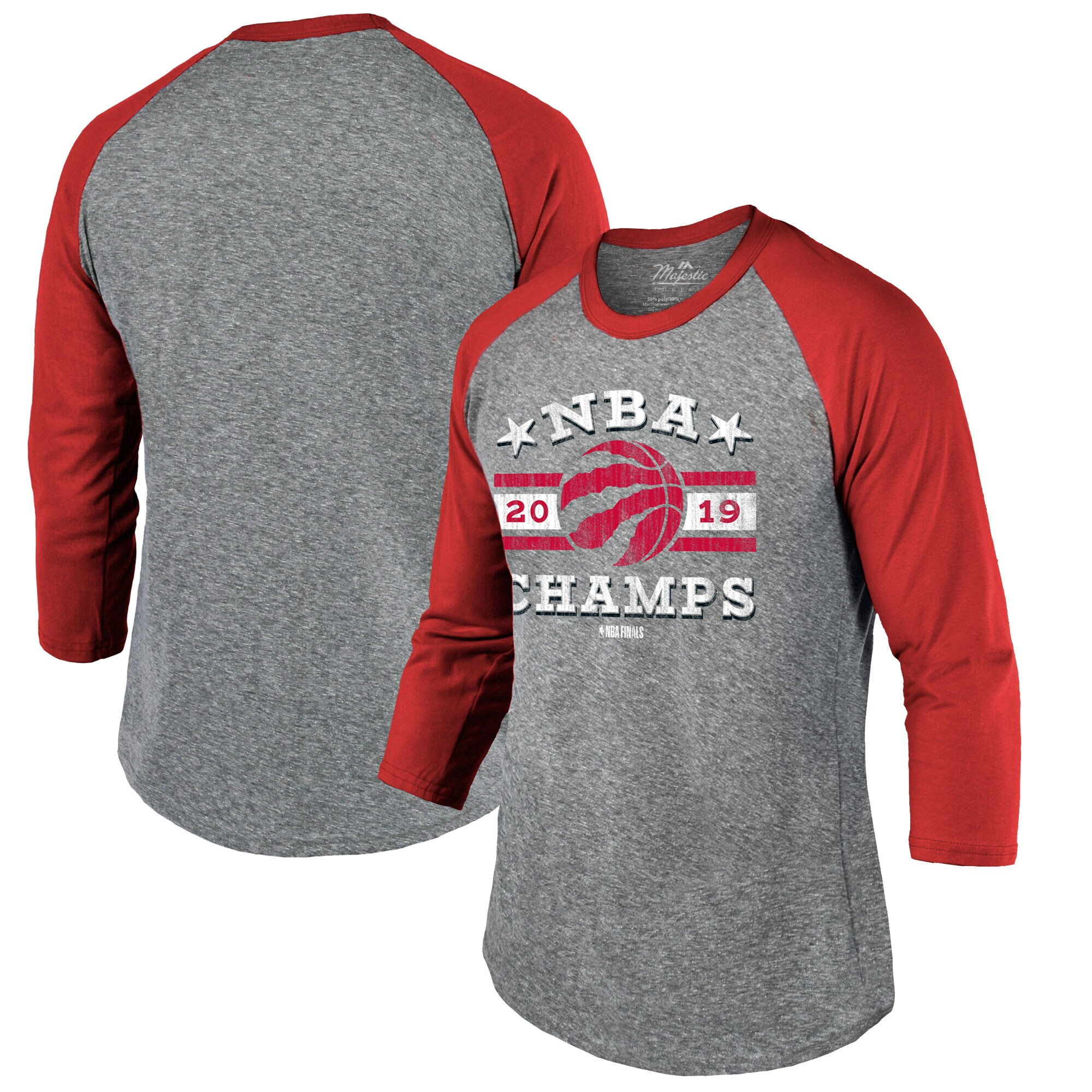 Toronto Raptors Majestic Threads 2019 NBA Finals Champions Raglan 3/4 Sleeve T-Shirt - Heather Gray/Red