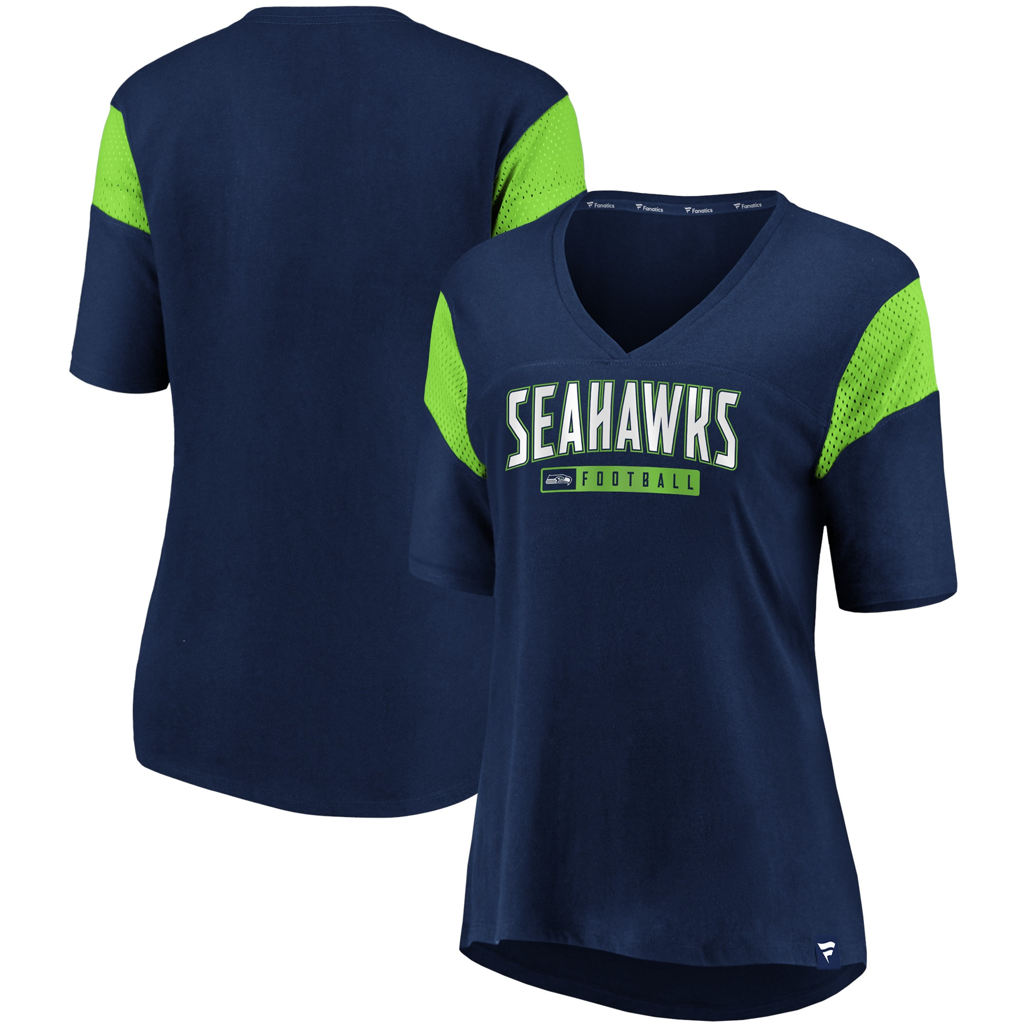 Seattle Seahawks Fanatics Branded Women's Iconic Mesh Piecing V-Neck T-Shirt - College Navy